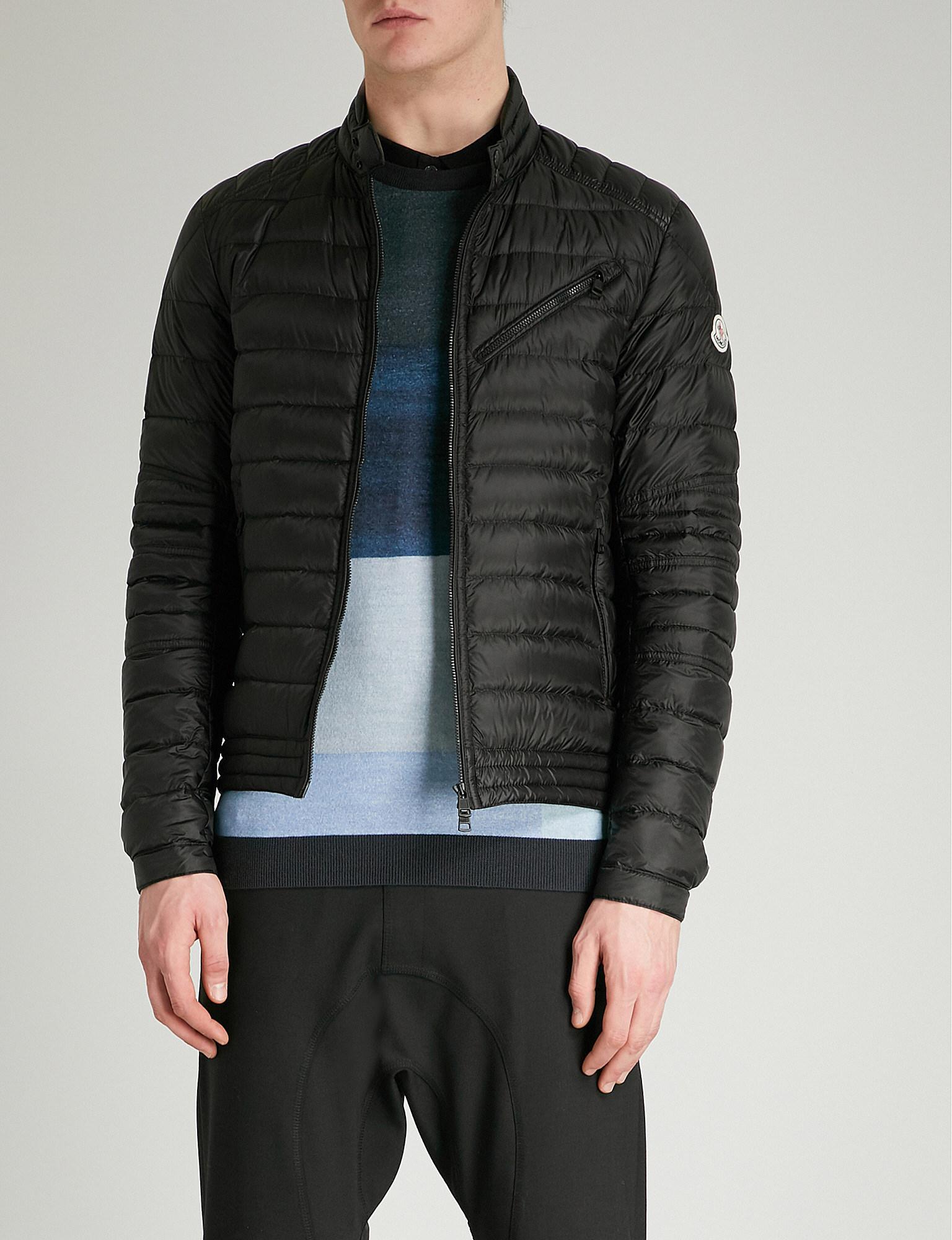 83abff5d5 Moncler Royat Quilted Shell-down Biker Jacket in Black for Men - Lyst