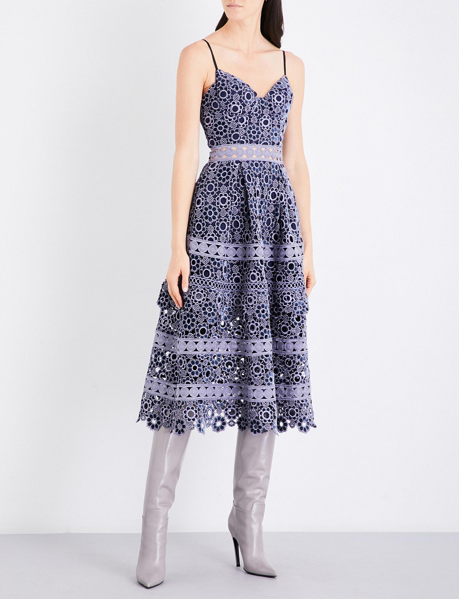 b77d4e50afe2c Lyst - Self-Portrait Floral-embroidered Cutout Midi Dress in Gray