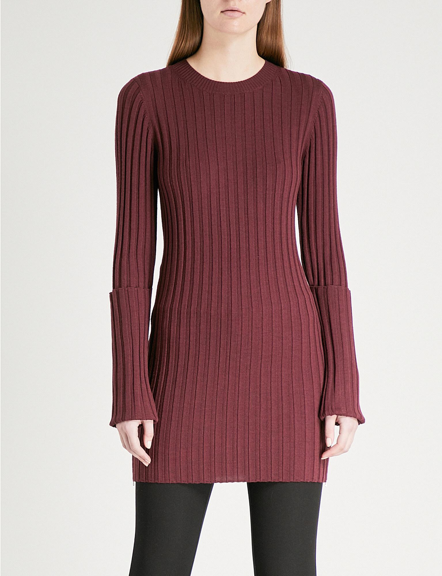 6b663d51463 Joseph Zipped-detail Wool-blend Dress in Red - Lyst