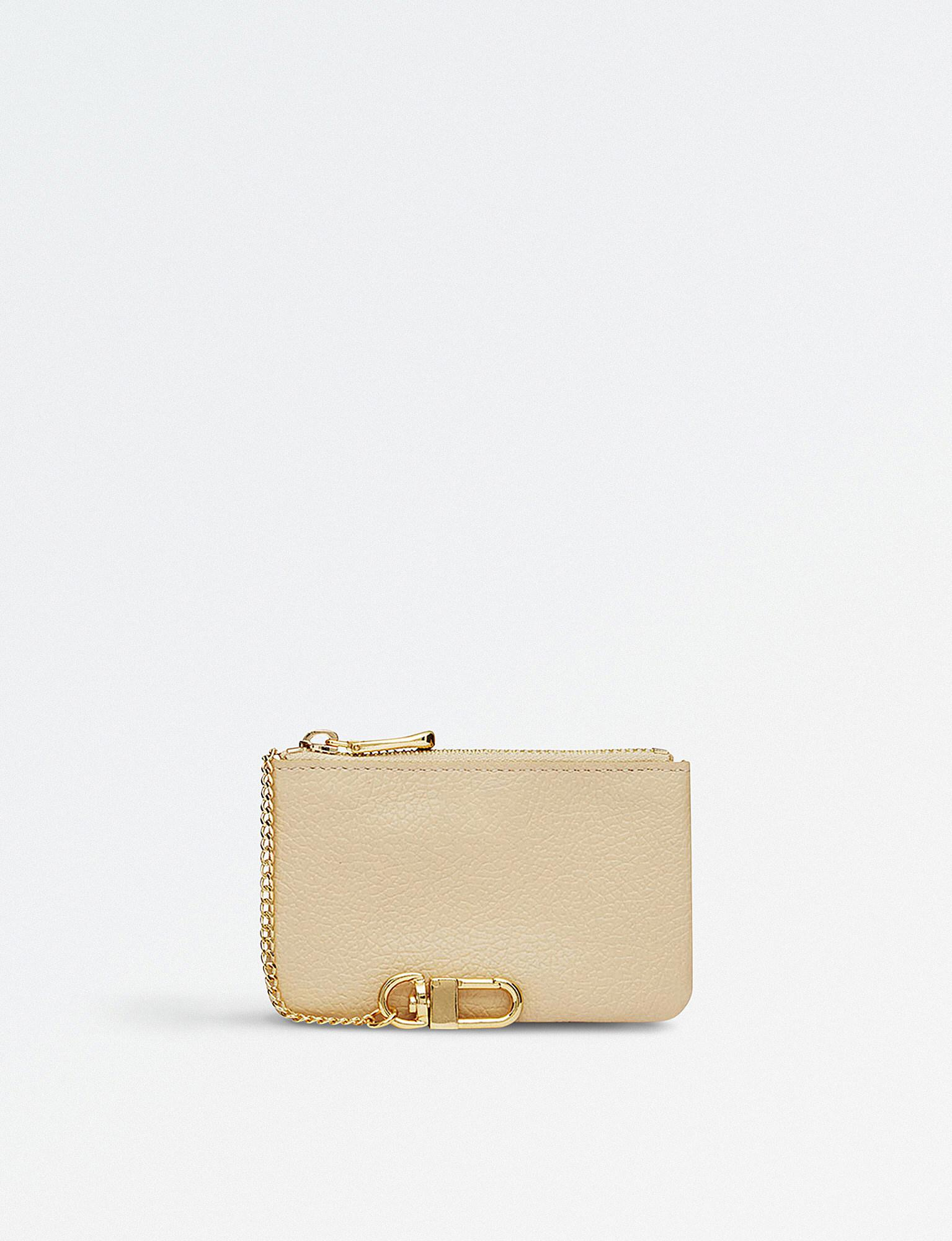 Mon Purse Grainy Leather Coin Purse in Natural - Lyst 70f85717db