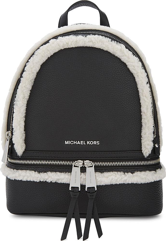 3e0cd102842c MICHAEL Michael Kors | Black Rhea Shearling-Trimmed Leather Backpack | Lyst