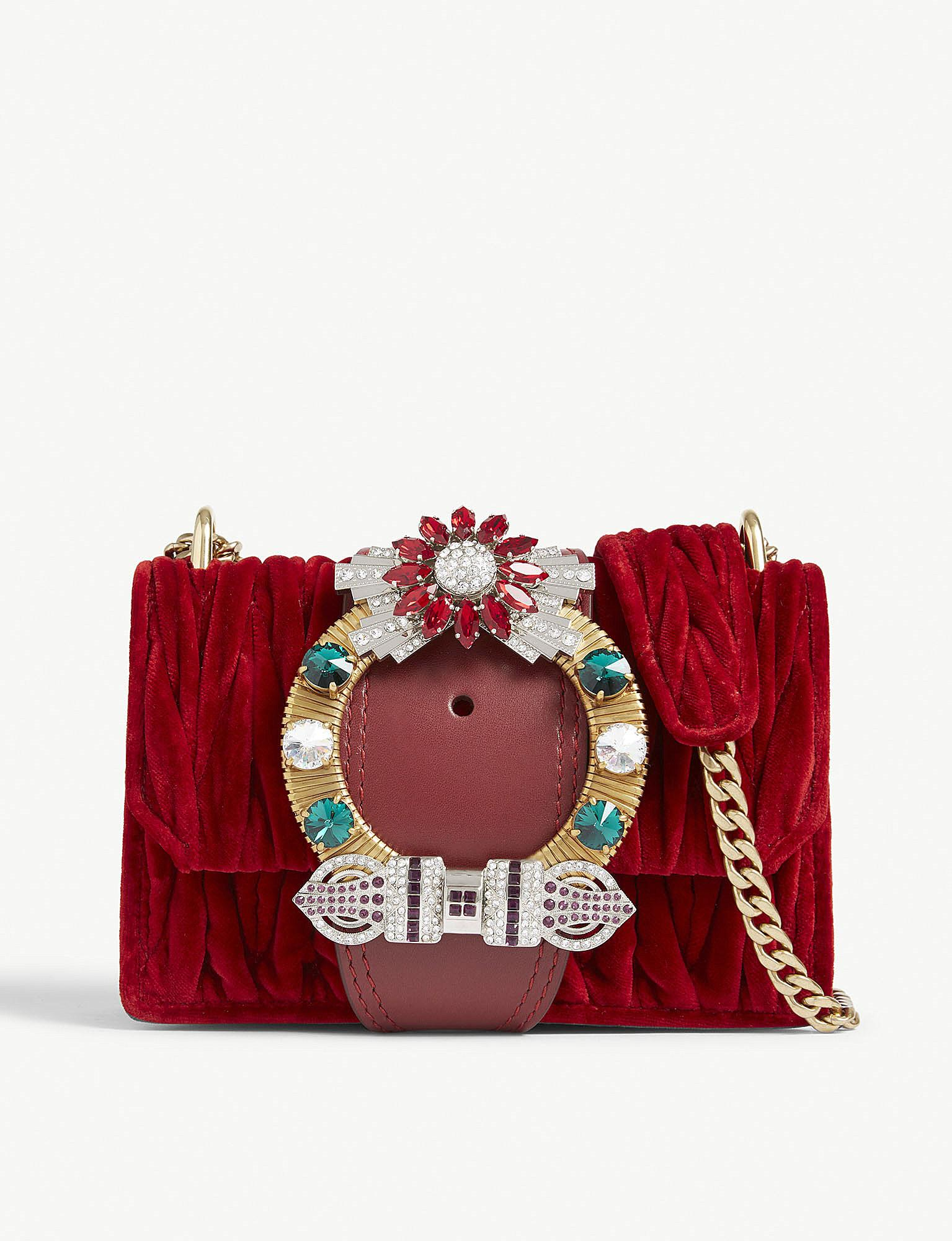 a2c075afeb0 Miu Miu Lady Matelasse Shoulder Bag in Red - Lyst