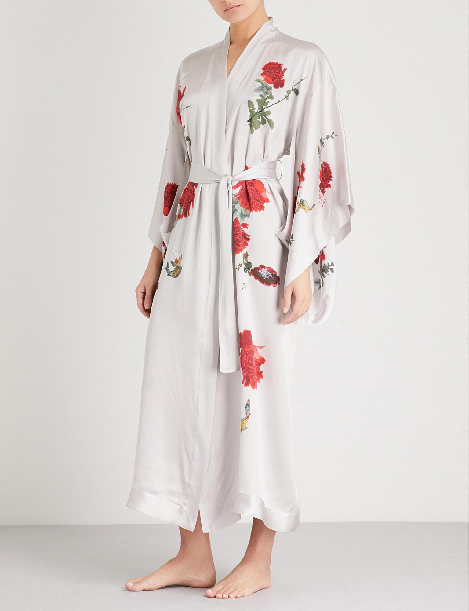 c06c9b67a Meng Floral-print Silk-satin Kimono Robe in White - Lyst