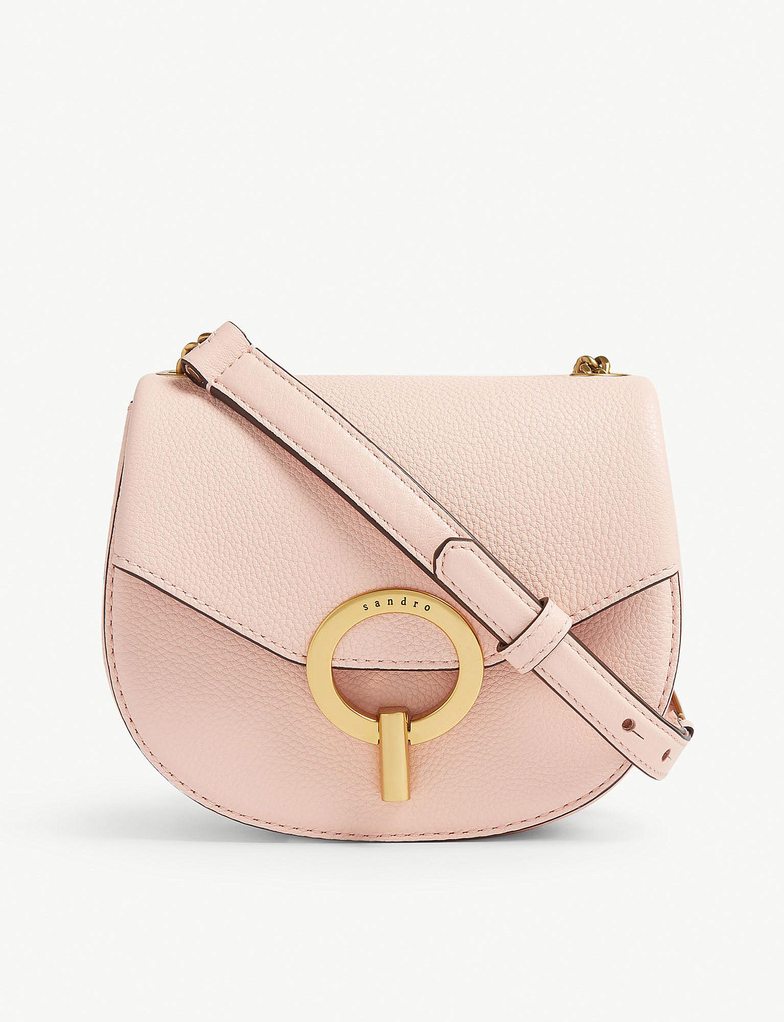 b6c5a11f2556 Lyst - Sandro Pepita Leather Shoulder Bag in Pink