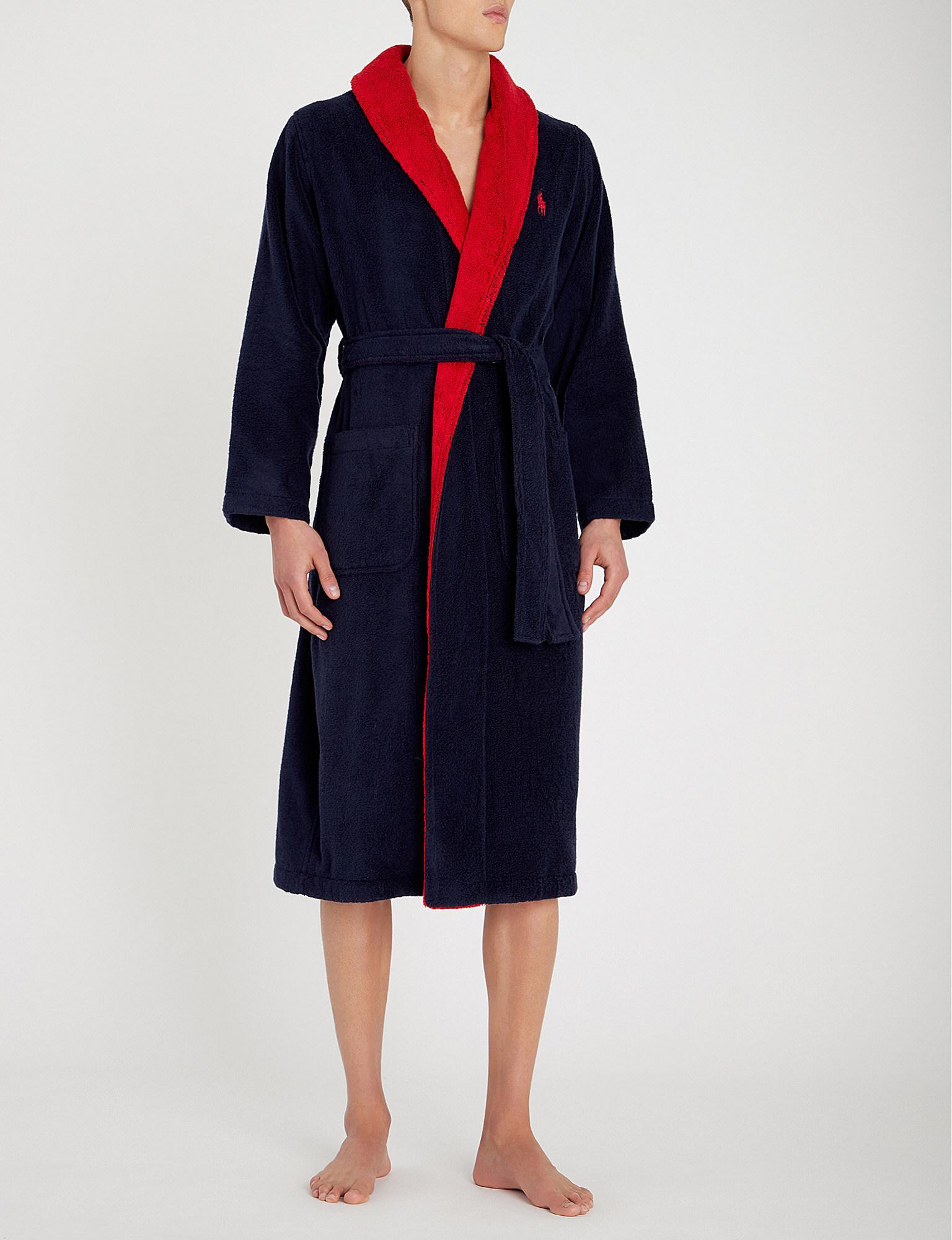 Polo Ralph Lauren Logo-intarsia Two-tone Cotton-terry Robe in Blue ... a798d4d26