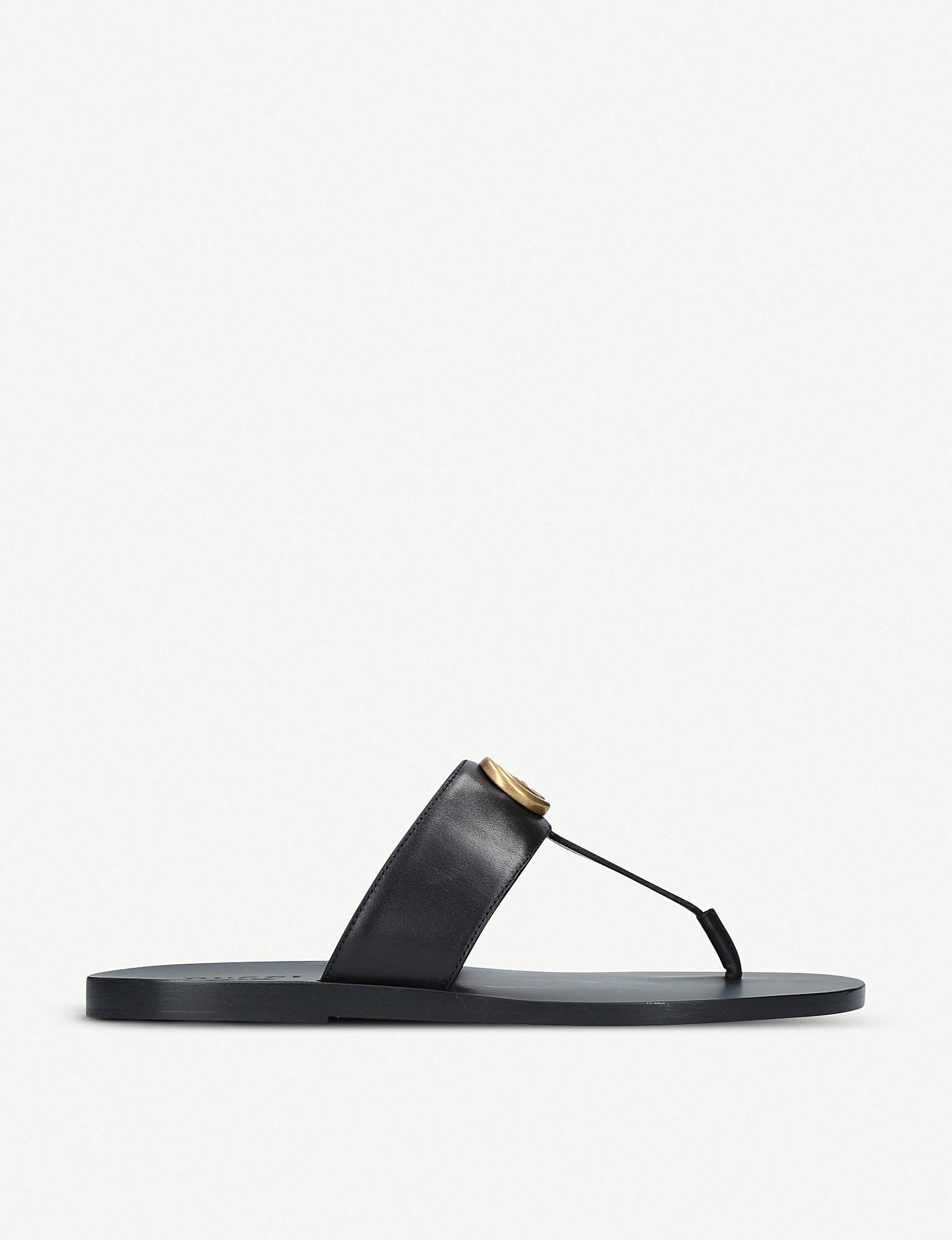 668bc3fe5893 Gucci Leather Thong Sandal With Double G in Black for Men - Save 38 ...