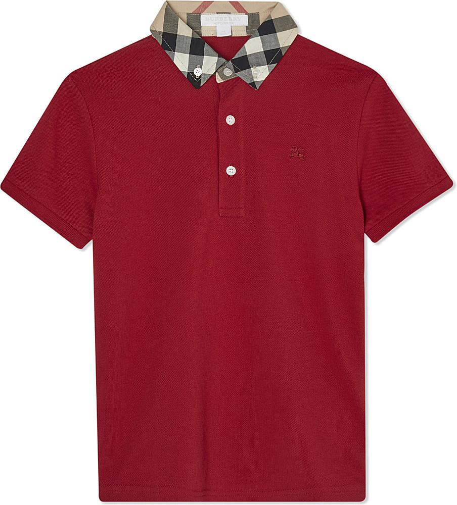e98a16e72 Burberry Cotton William Check Polo in Red for Men - Lyst