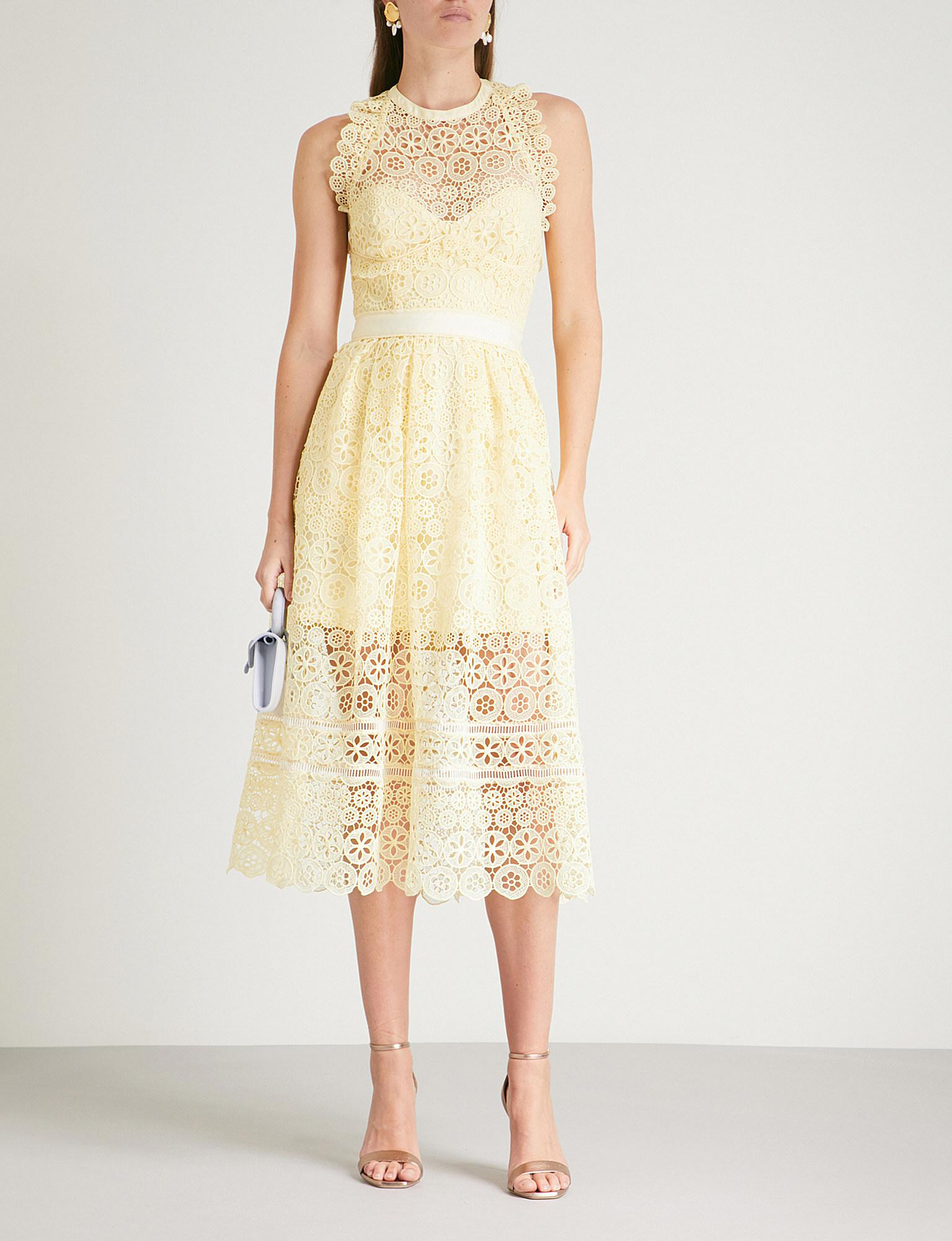 bc37deb3adc603 Self-Portrait Circle Floral Lace Midi Dress in Yellow - Lyst