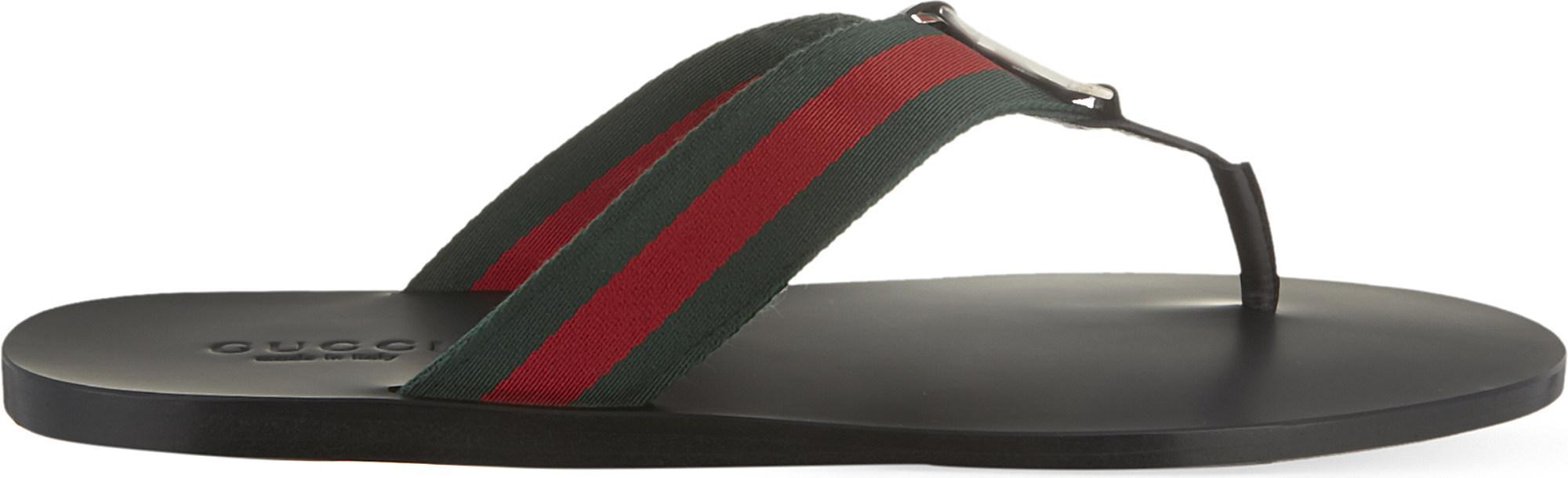 544561c0feab1f Lyst - Gucci Web Flip-flops in Black for Men