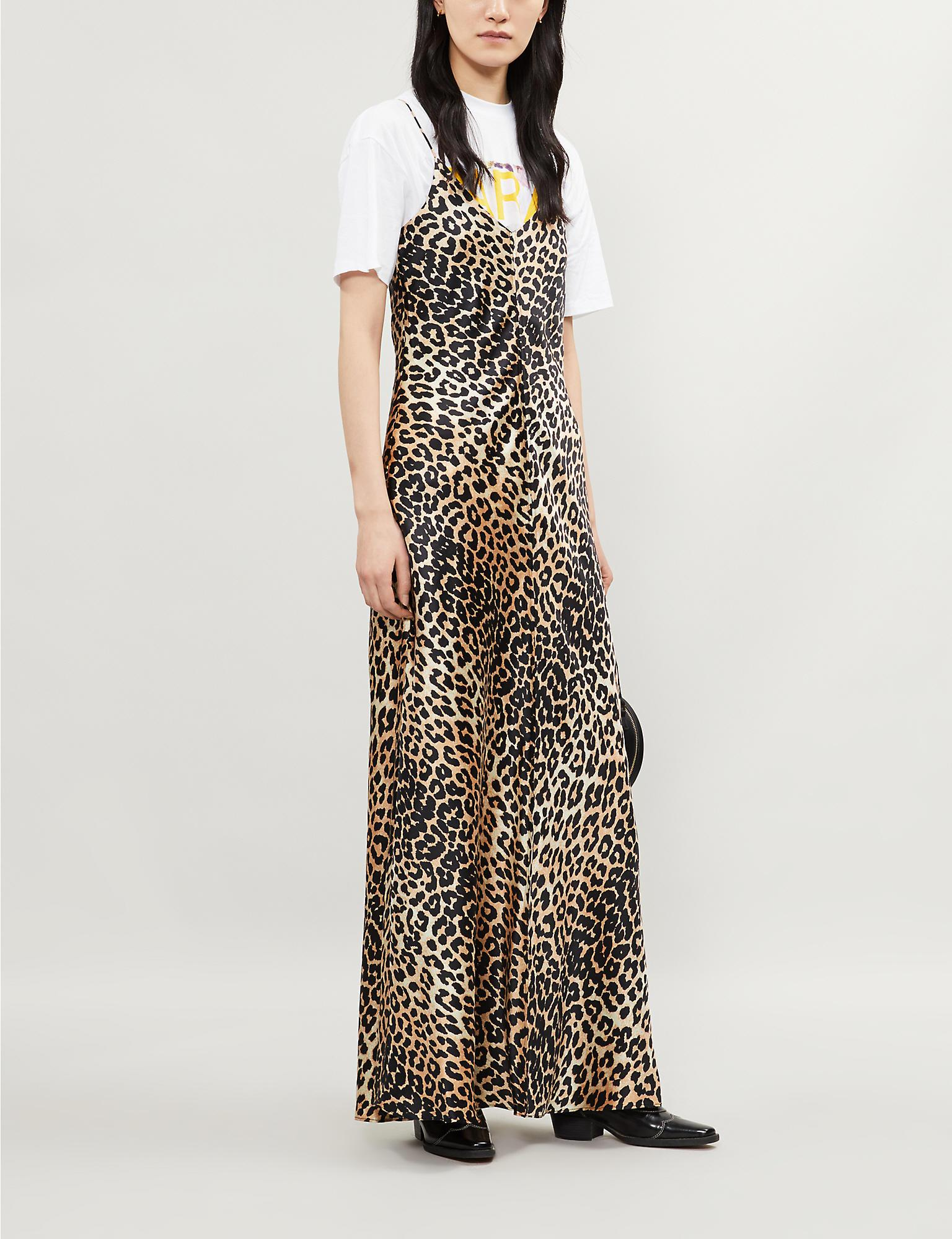 21cc9908 Ganni Blakely Leopard Print Silk Blend Slip Dress - Save 30% - Lyst