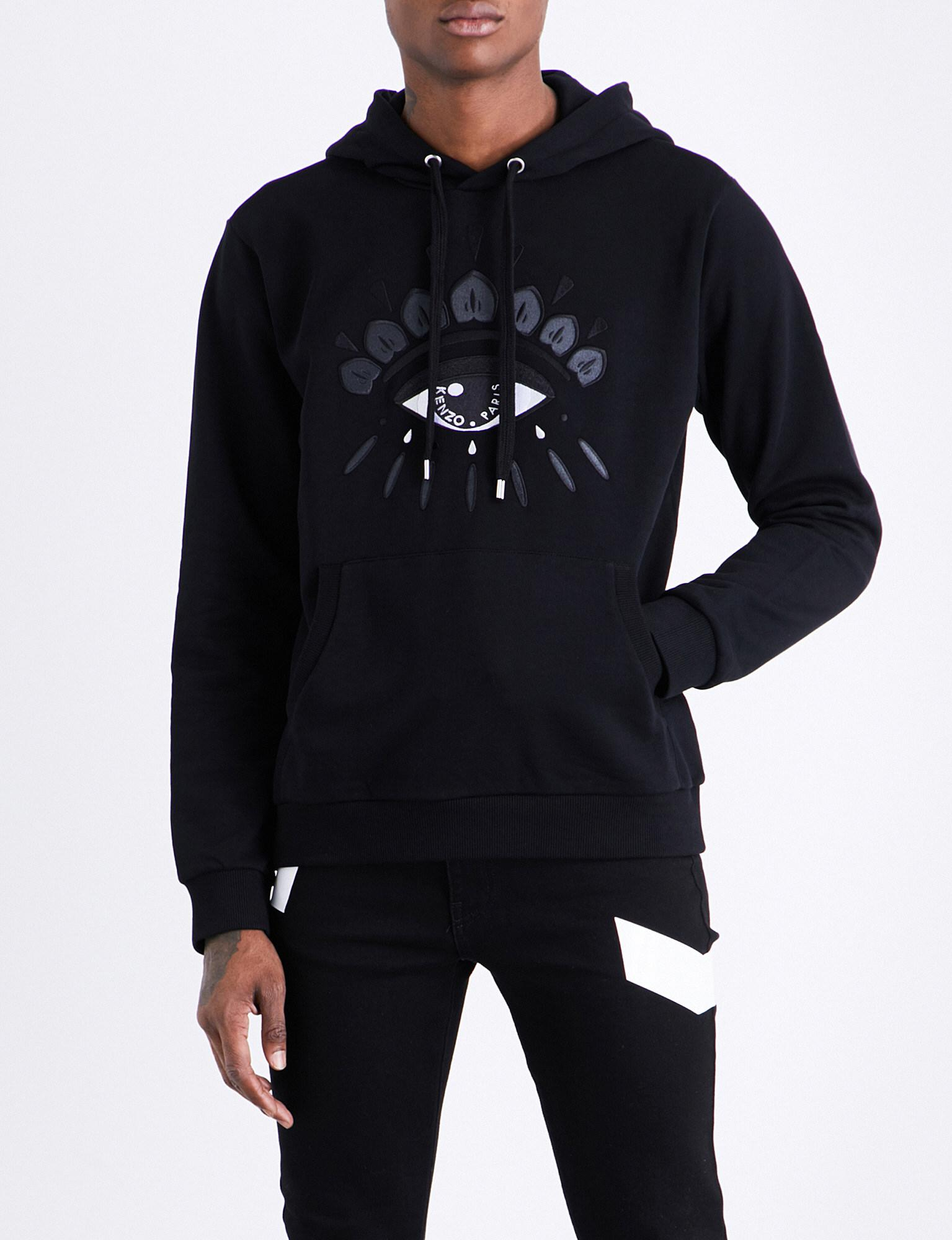 596d944124 KENZO Icon Evil Eye-embroidered Cotton-blend Hoody in Black for Men ...