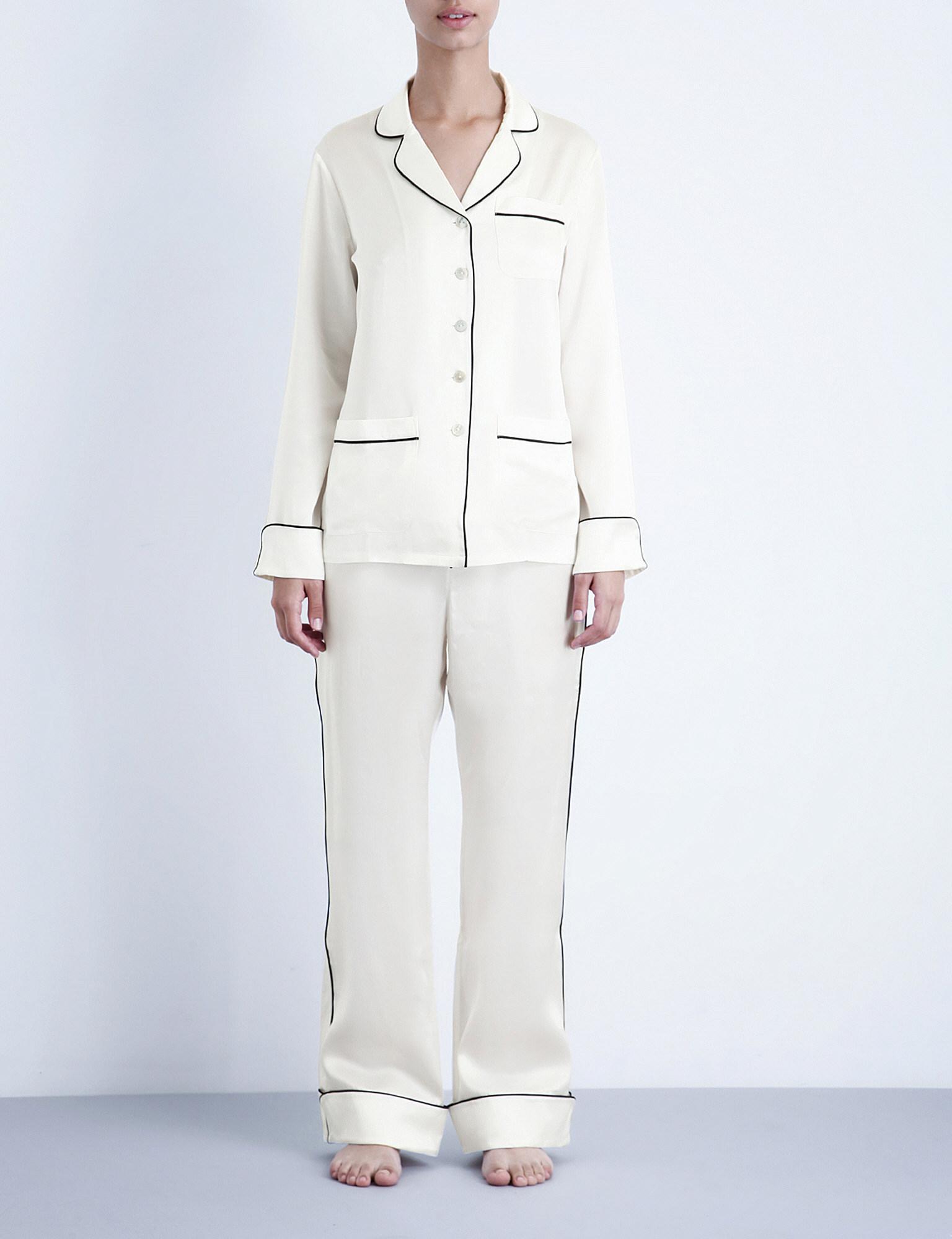 Olivia Von Halle Coco Silk-satin Pyjama Set in White - Lyst 2f184daaf