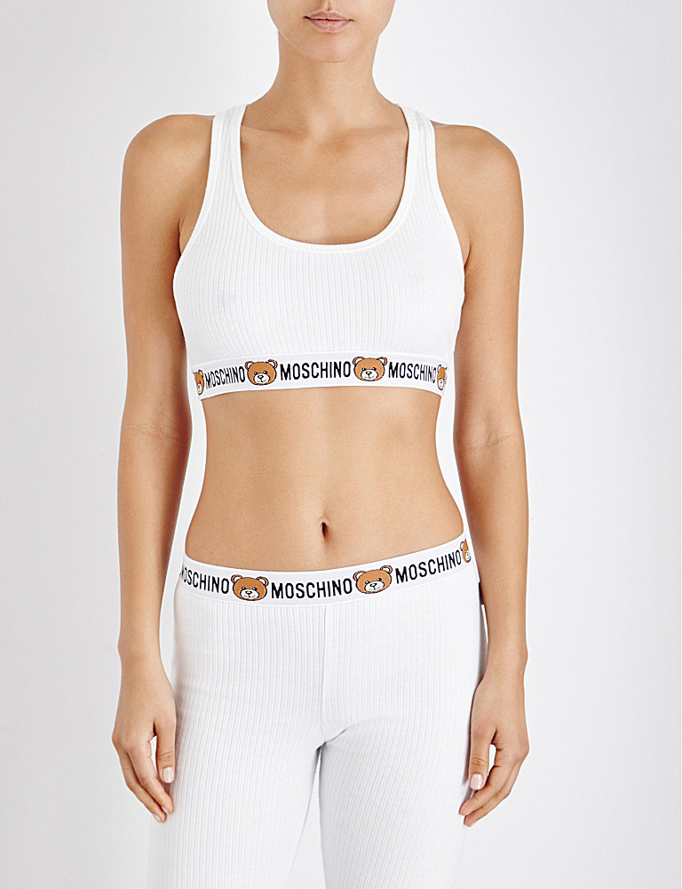 bc7c7b4255a4e Lyst - Moschino Underbear Ribbed Cotton Bralette in White