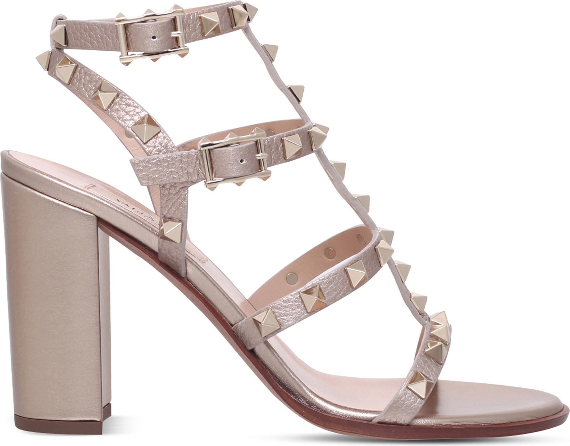 1408c0695fbd0 Lyst - Valentino Rockstud 90 Leather Heeled Sandals in Metallic