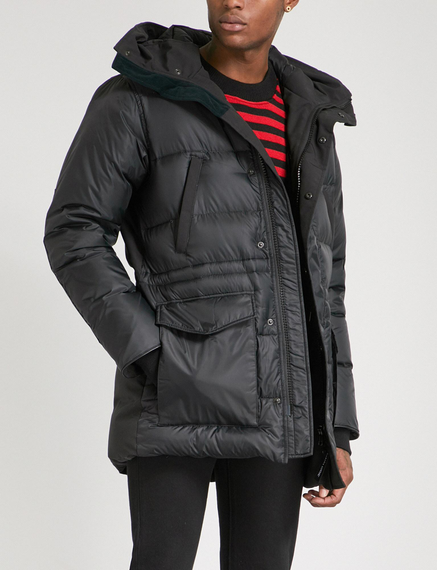 Canada Goose. Men's Black Silverthorne Hooded Quilted Shell-down Parka Jacket