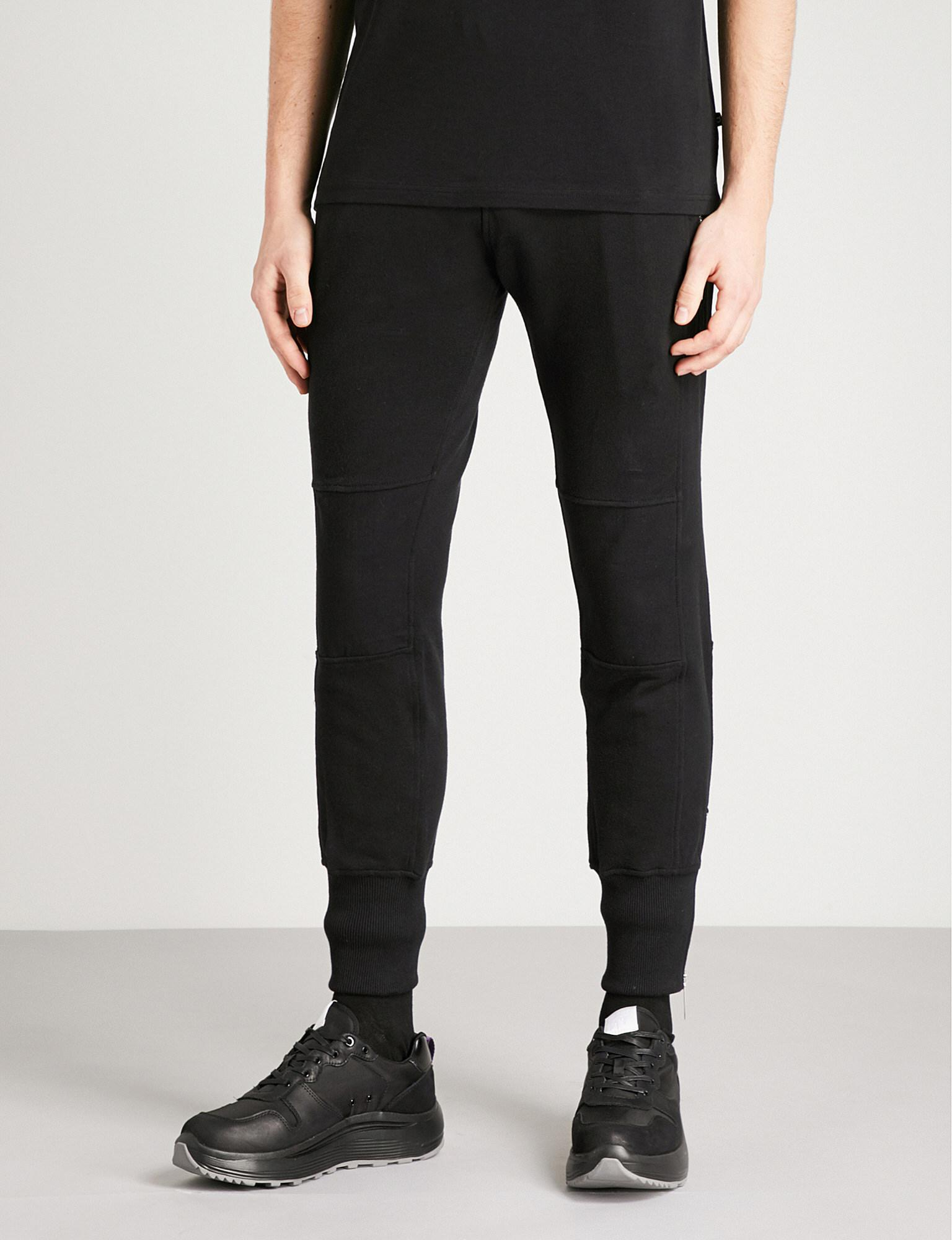 Blood Brother. Men's Black Shock Zipped Cotton-jersey Jogging Bottoms