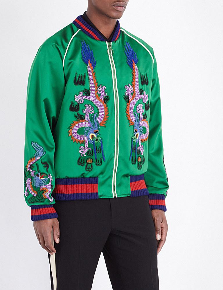 Gucci dragon embroidered silk bomber jacket in green for