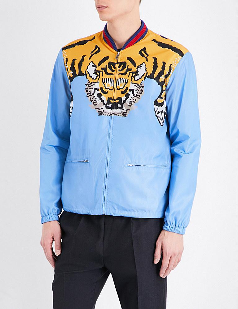 Gucci Blue Tiger,graphic Shell Bomber Jacket for men