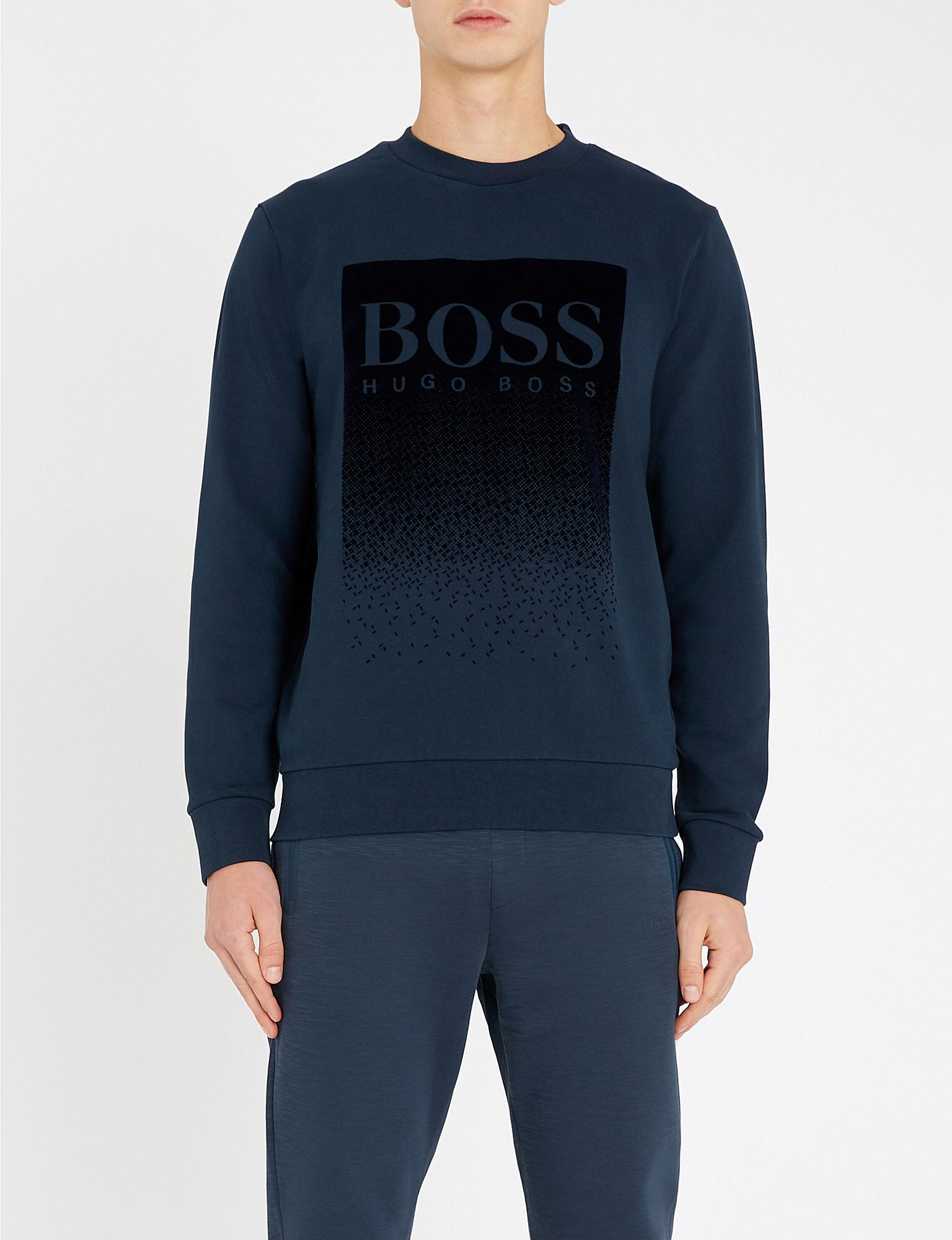 c15992781 BOSS - Blue Logo Patch Sweatshirt for Men - Lyst. View fullscreen