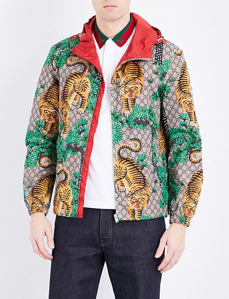 Gucci Tiger Print Shell Jacket For Men Lyst