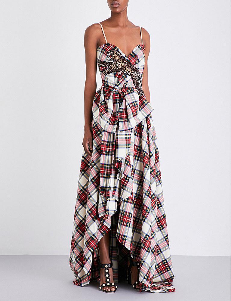 Lyst - Gucci Embellished Wool-tartan Gown