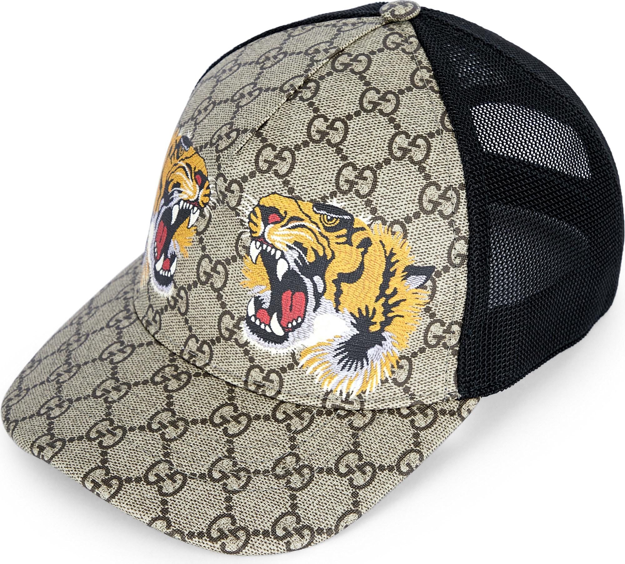 423984e0c19ac Gucci Twin Tigers Canvas Baseball Cap in Natural for Men - Lyst