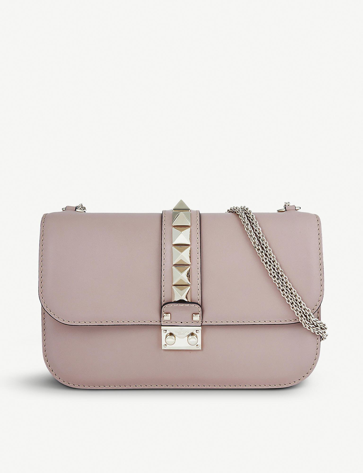 cdd24516d Valentino Studded Medium Leather Shoulder Bag in Purple - Lyst