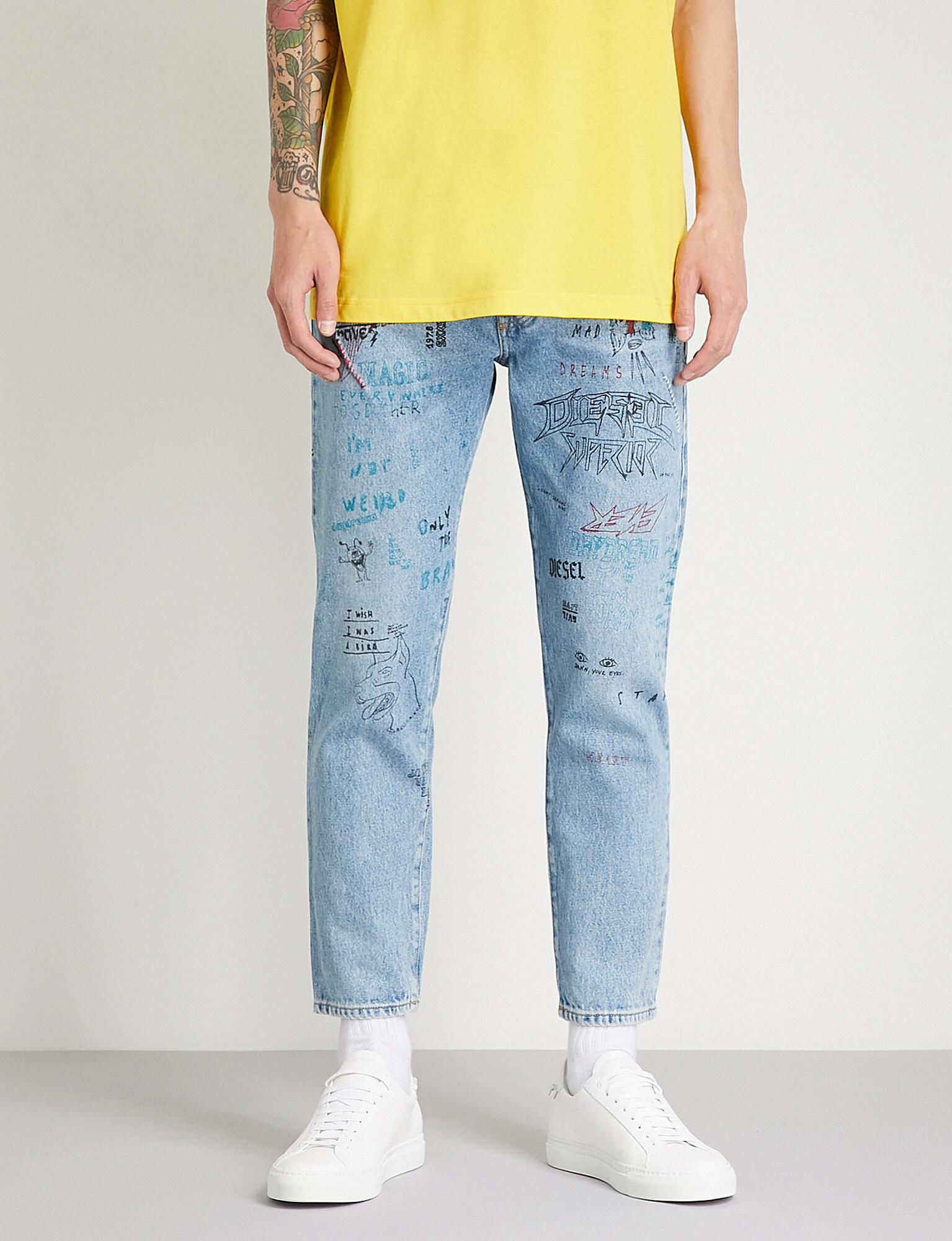 017a0cd8 DIESEL Mharky Printed Slim-fit Skinny Jeans in Blue for Men - Lyst