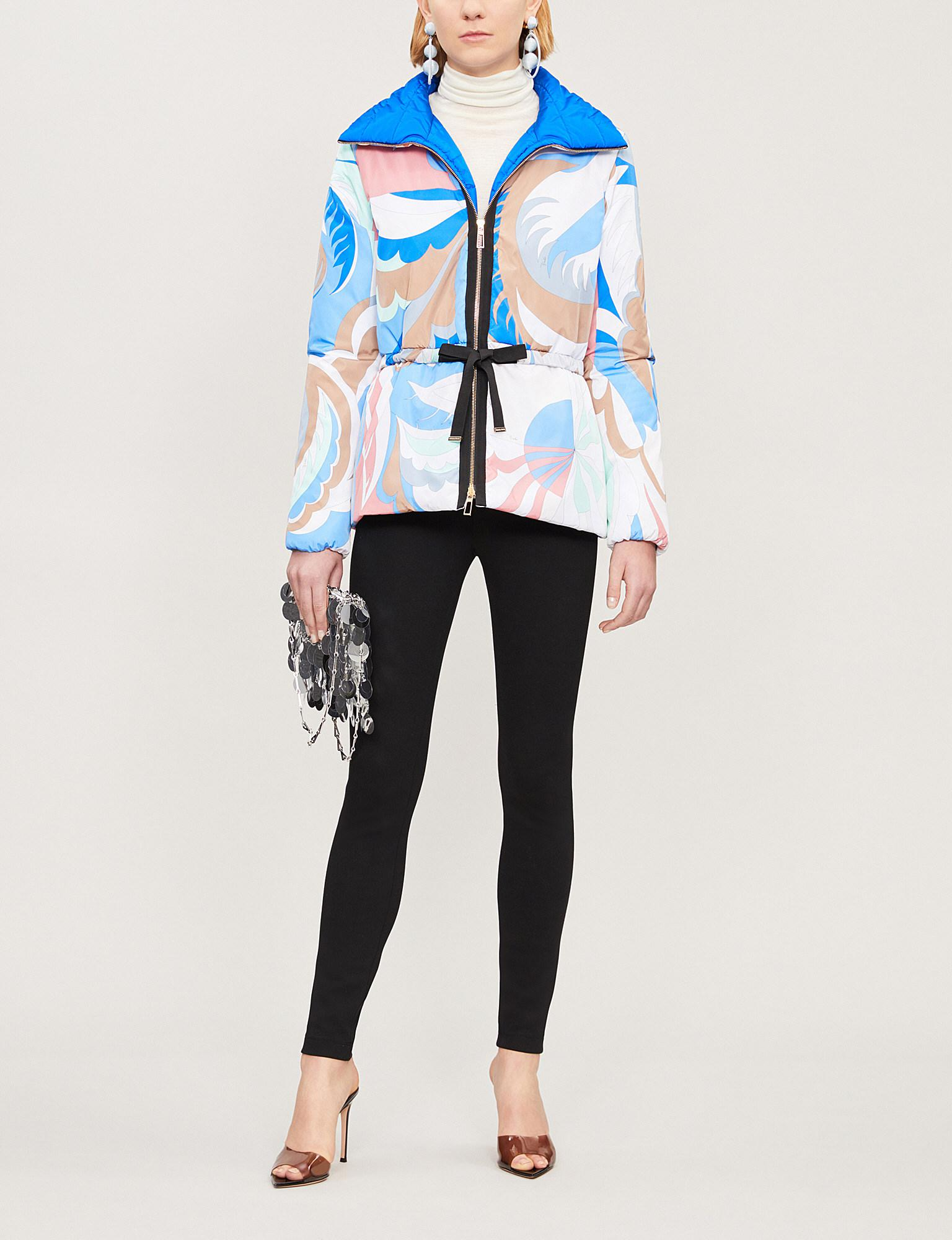259db8ee5bfa Lyst - Emilio Pucci Funnel-neck Printed Shell Jacket in Black