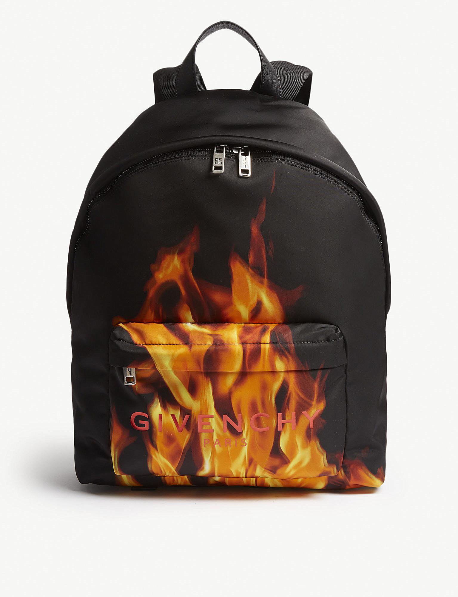 4e208322f6e Givenchy Logo Flame Nylon Backpack for Men - Lyst