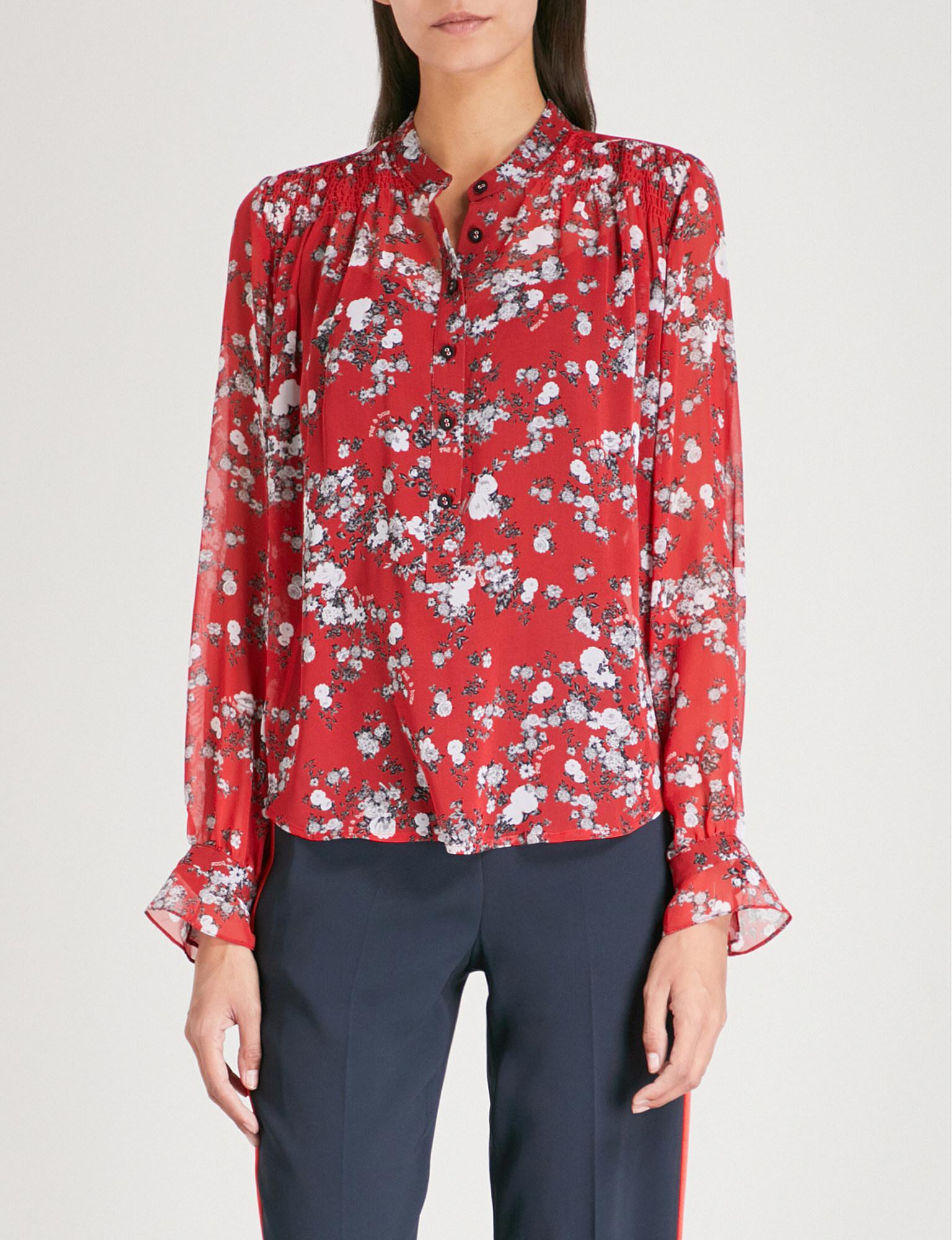 60ce29dcb61595 Lyst - Rag   Bone Susan Silk-chiffon Shirt in Red