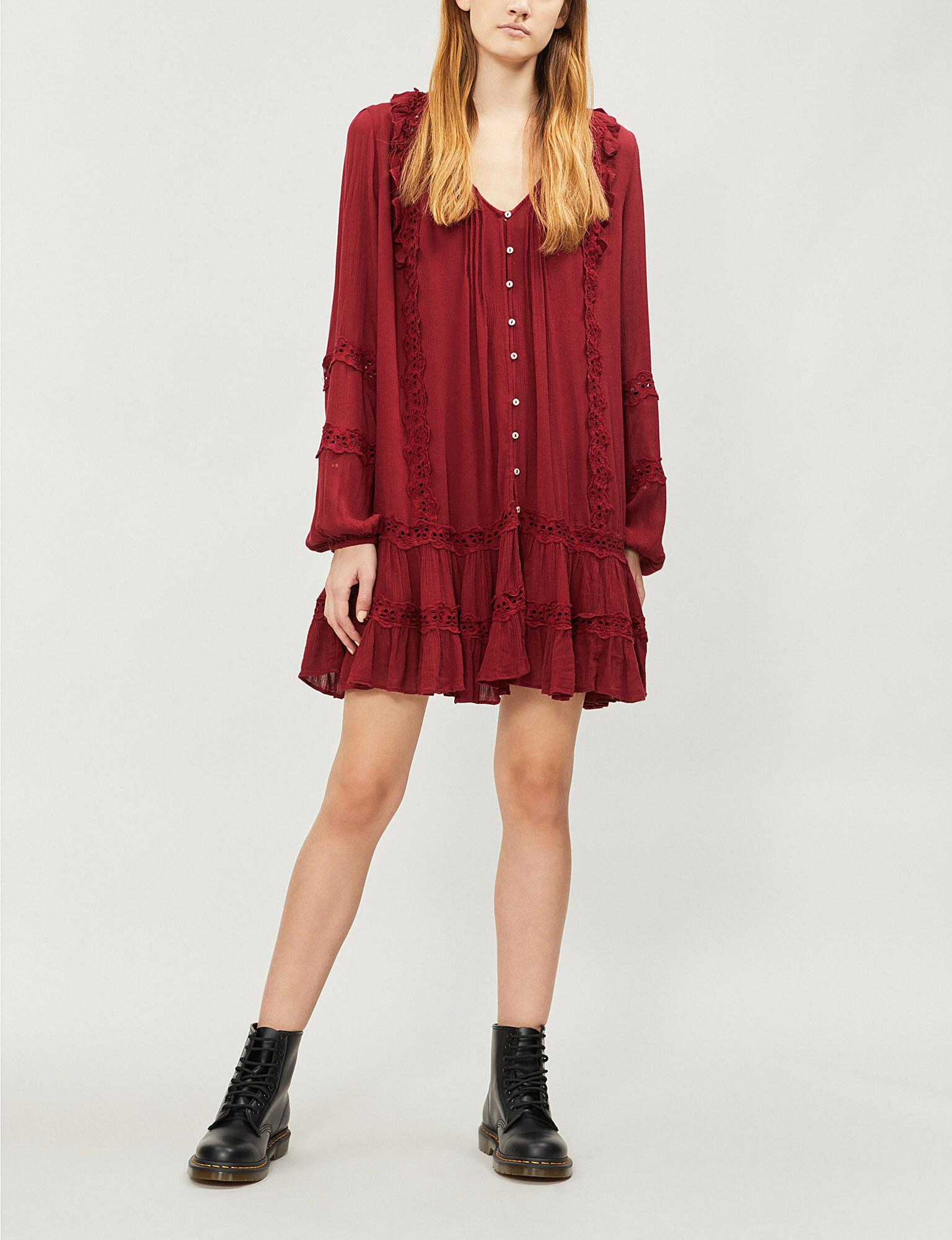 731bf63320cf4 Lyst - Free People Snow Angel Woven Dress in Red