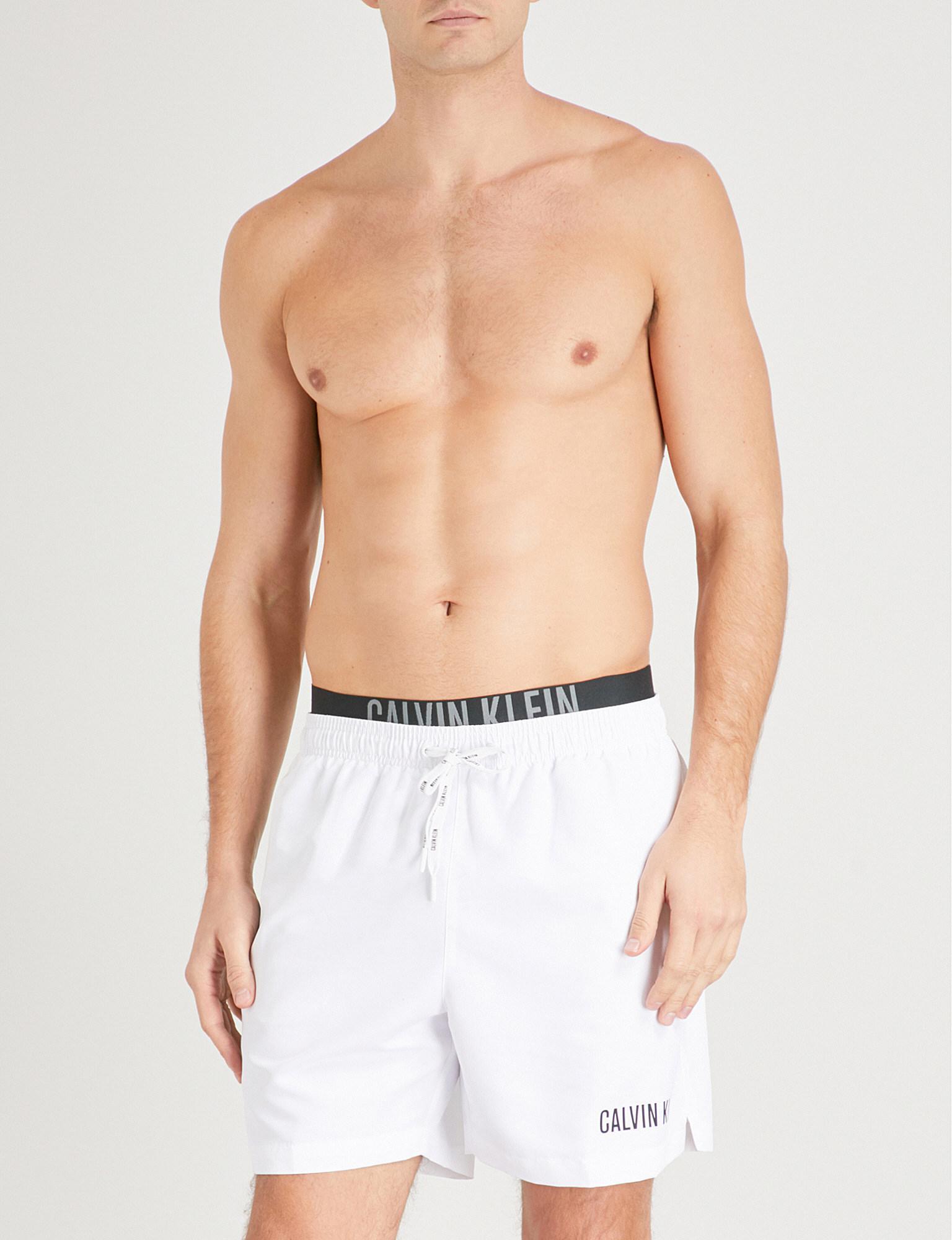78cfc0eef6f15 Calvin Klein Intense Power Double-waistband Swim Shorts in White for ...
