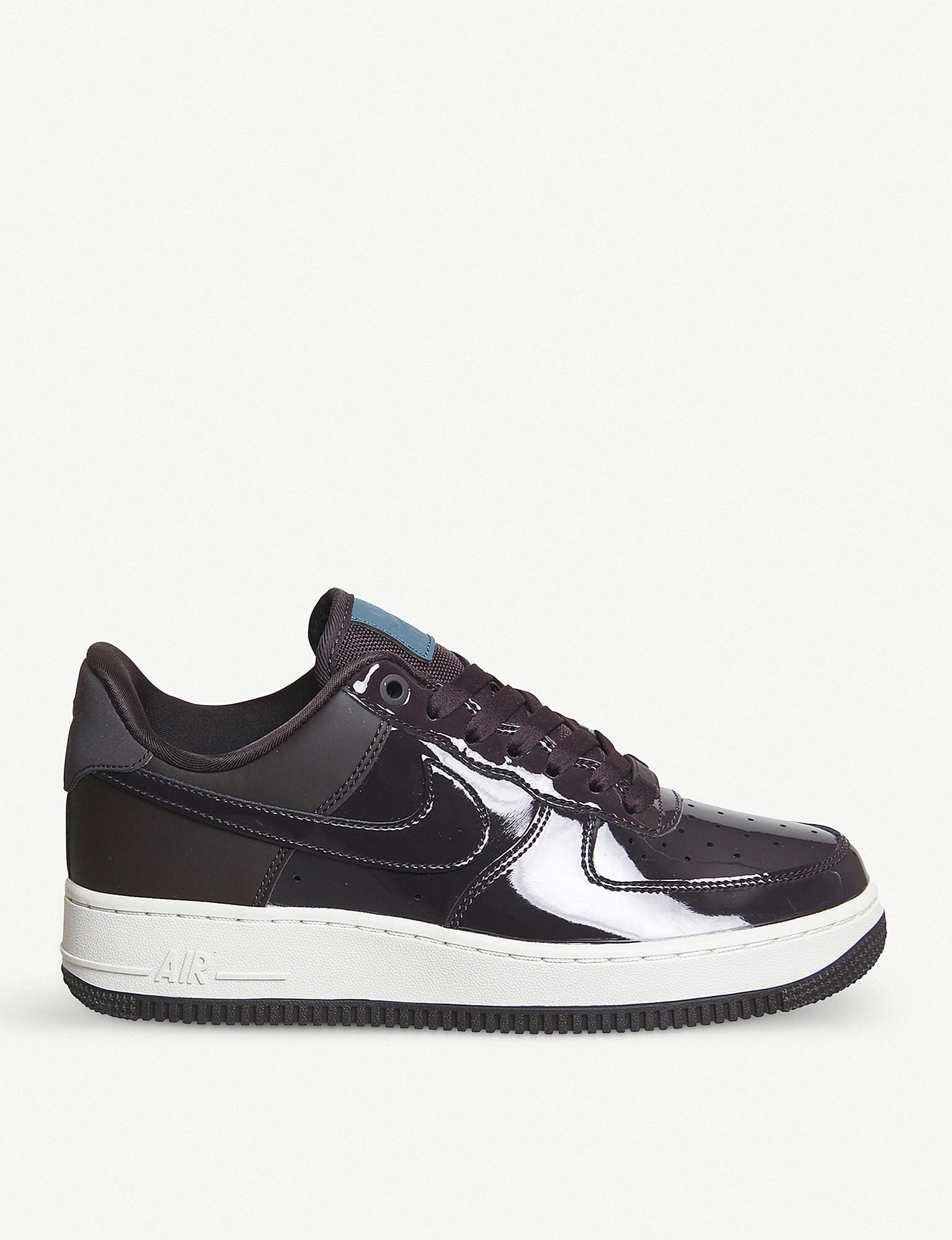 Nike. Women's Blue Air Force 1 07 Patent Leather Trainers