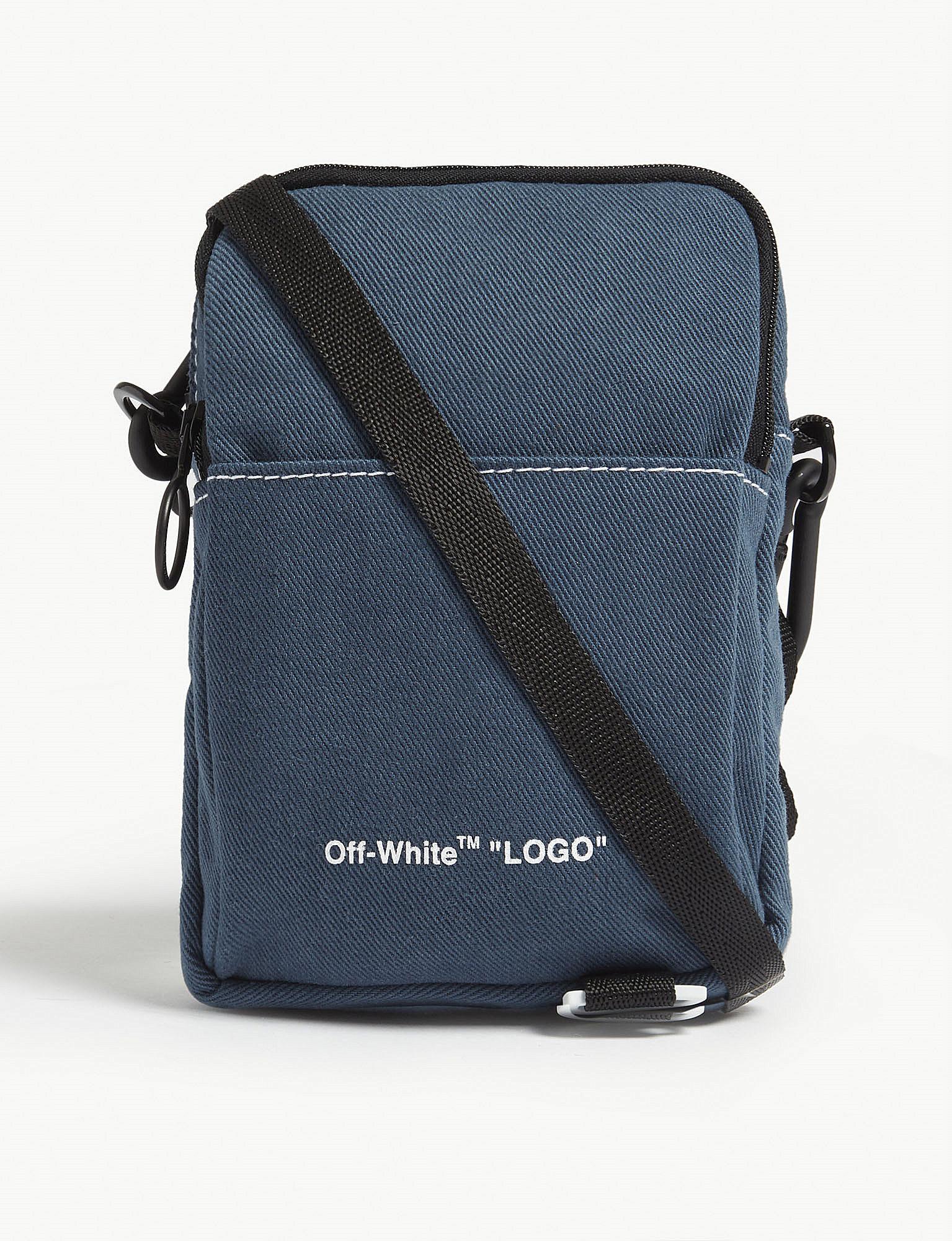 4c36e37a3e2 Lyst - Off-White c o Virgil Abloh Logo Cross Body Bag in Blue for ...