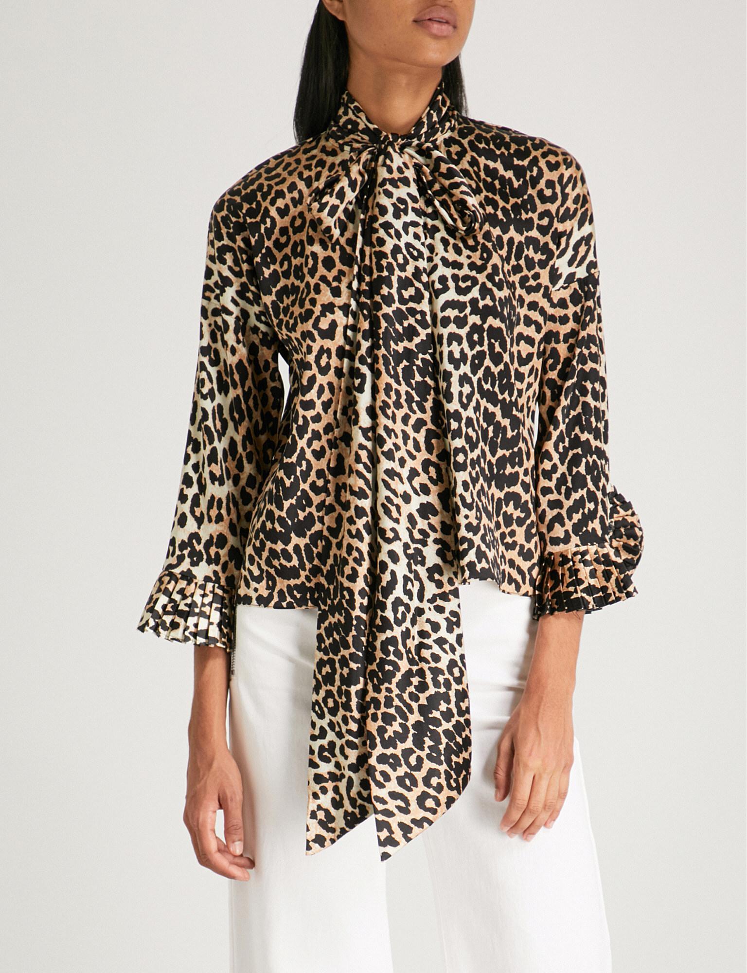 4fd5dfa3cec85b Ganni Black And Brown Calla Stretch-silk Blouse in Black - Save 8 ...