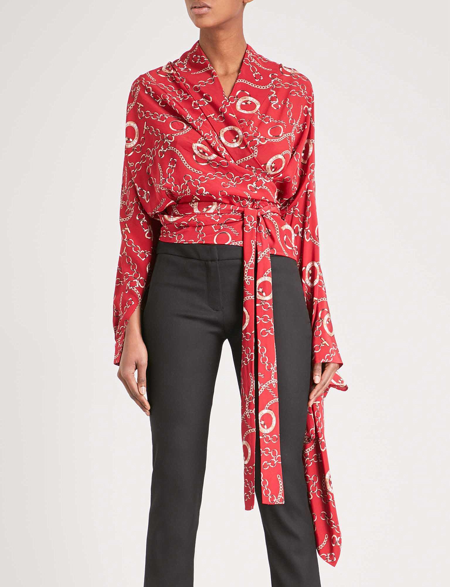 b76b41f400172 Lyst - Balenciaga Chain-print Silk Shirt in Red