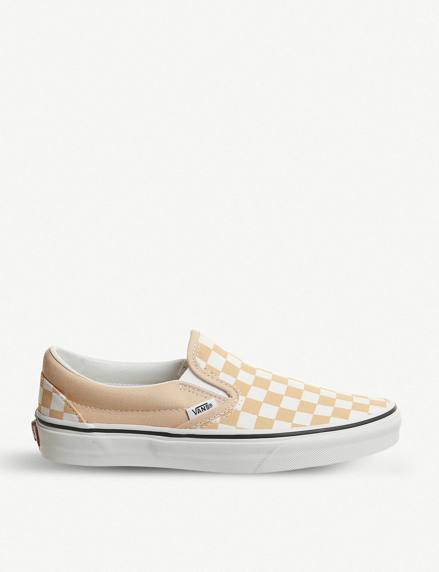 6b3ccd7c907a Lyst - Vans Classic Checkerboard-print Canvas Slip-on Trainers in White