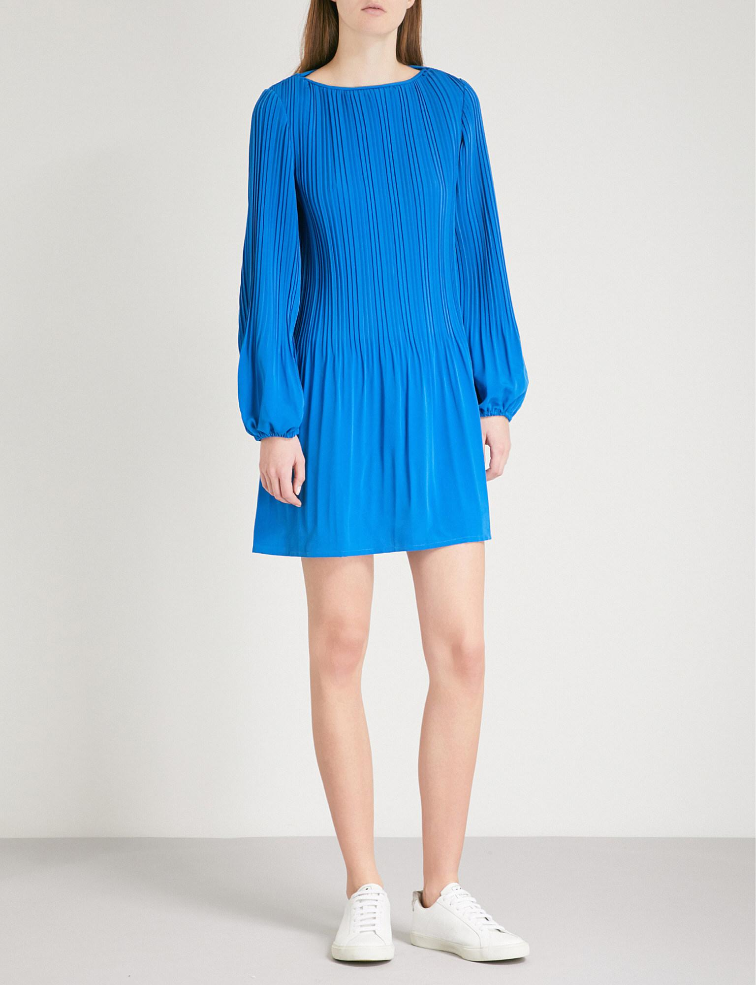 cb89fee67319 Maje Rockin Pleated Crepe Mini Dress in Blue - Lyst