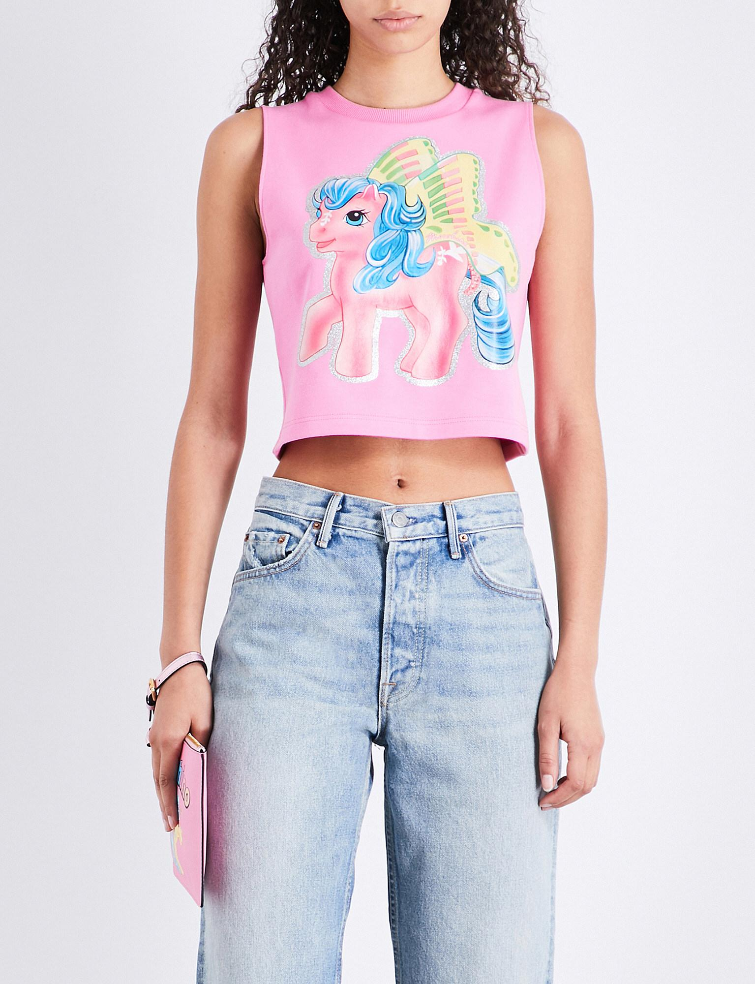 Moschino. Women's Pink My Little Pony-print Stretch-cotton Cropped Top