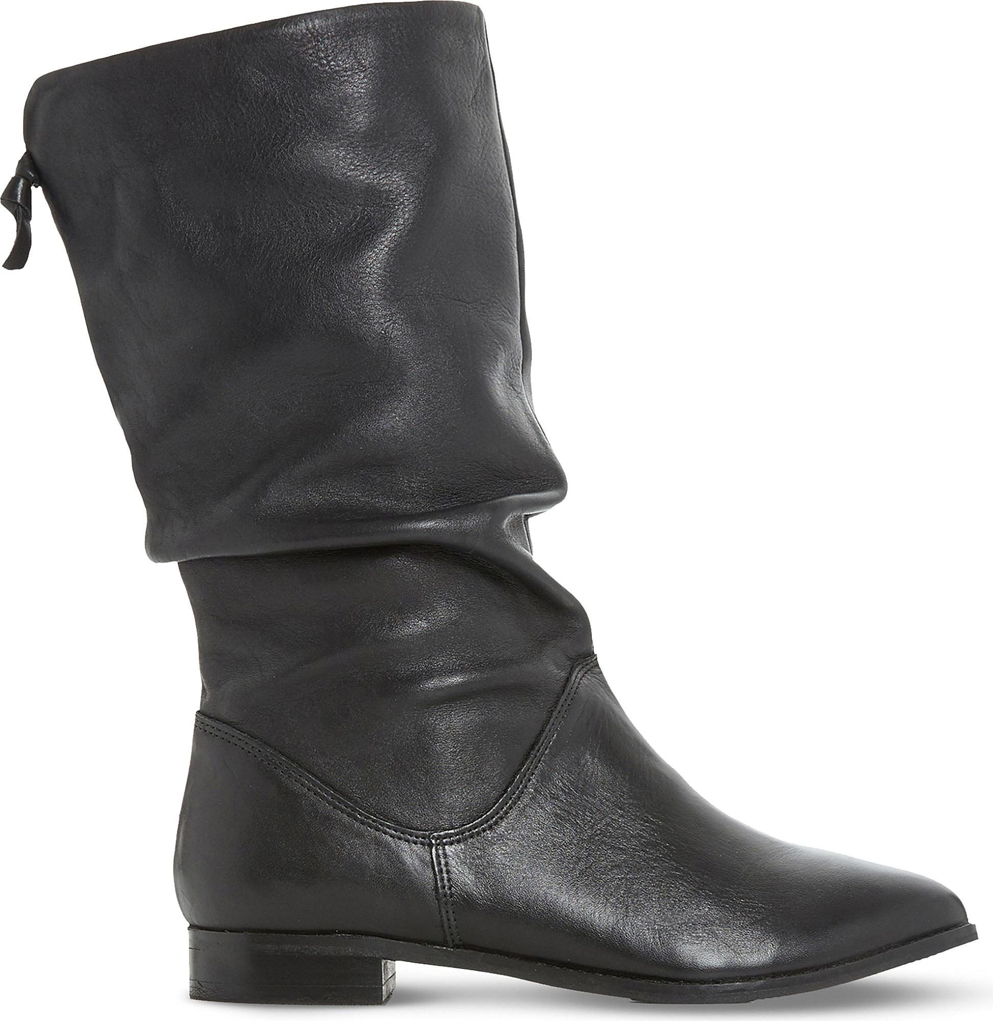 Discount Dune Black-Leather Rosalind Slouchy Leather Boots for Women Sale