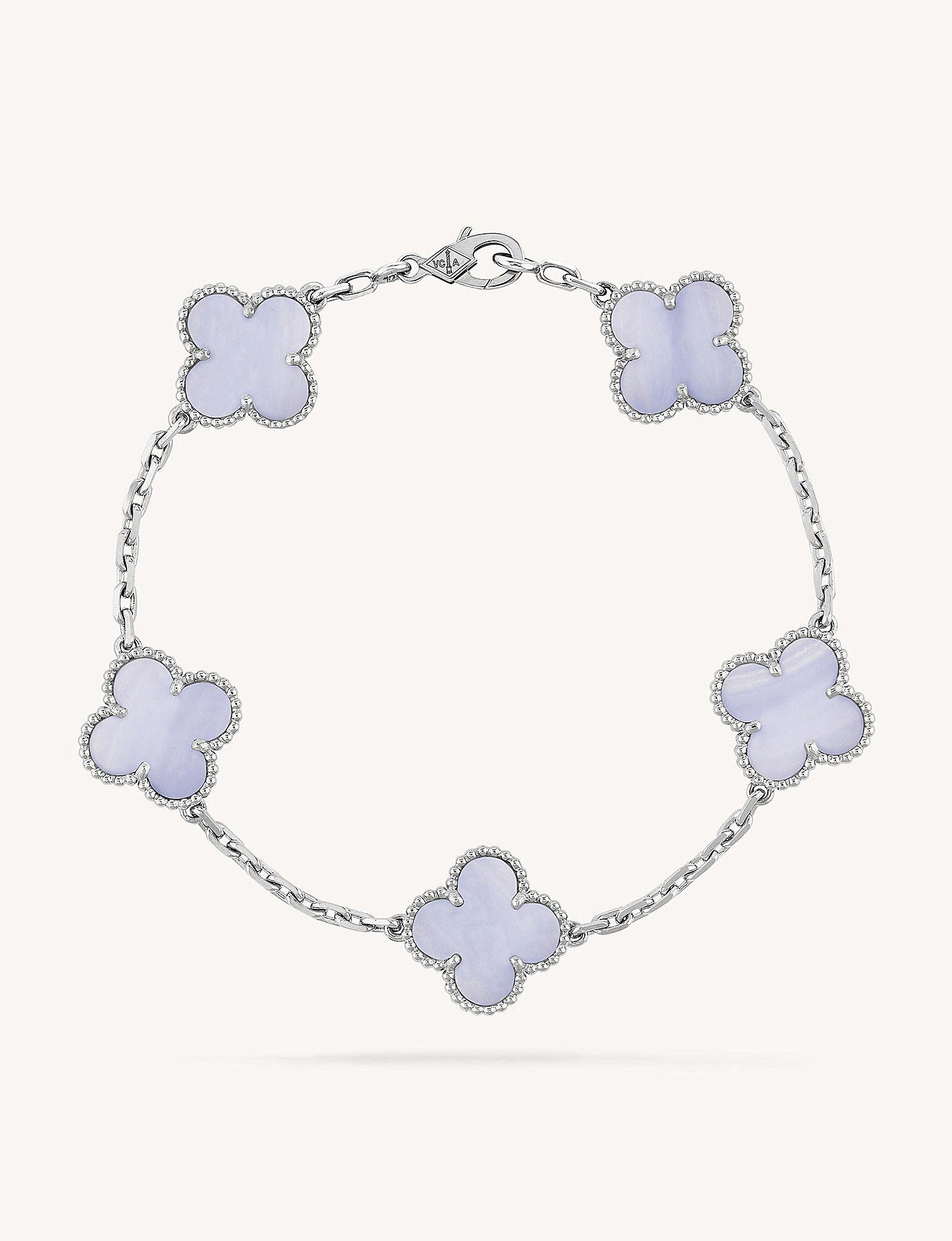 a8cb019f778fa Van Cleef   Arpels Vintage Alhambra Gold And Chalcedony Bracelet in ...