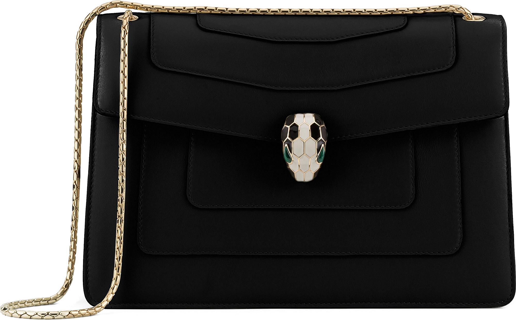 4d55f423ef24 BVLGARI Serpenti Forever Leather Shoulder Bag in Black - Lyst