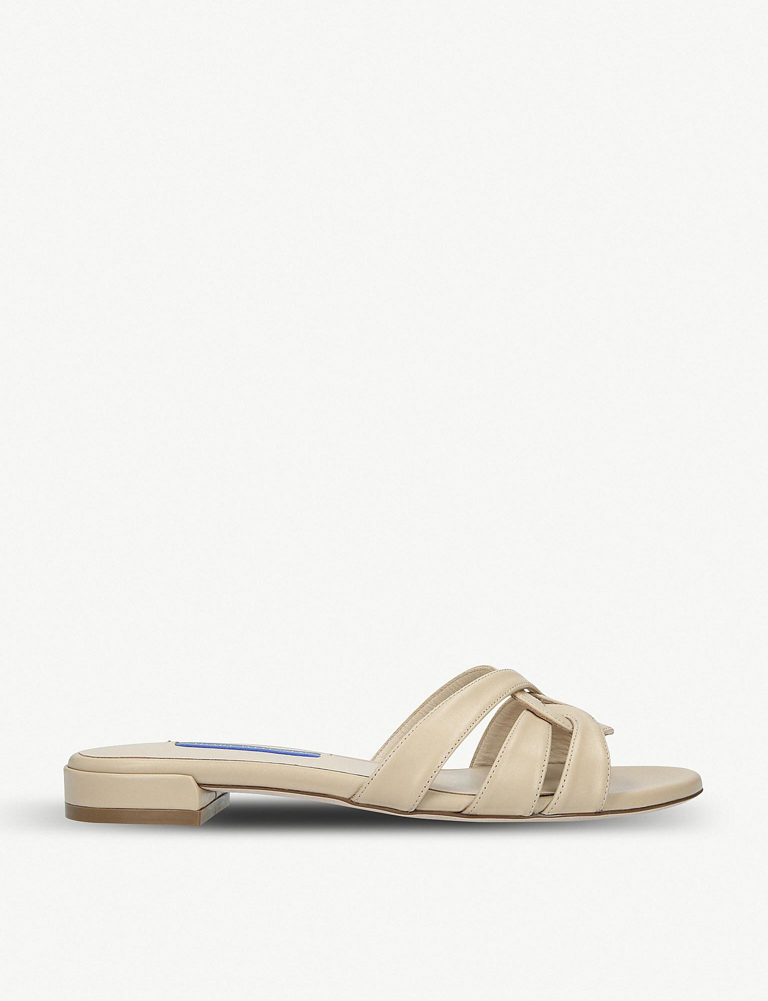f71575ab4765 Stuart Weitzman Cami Leather Sandals in Natural - Lyst