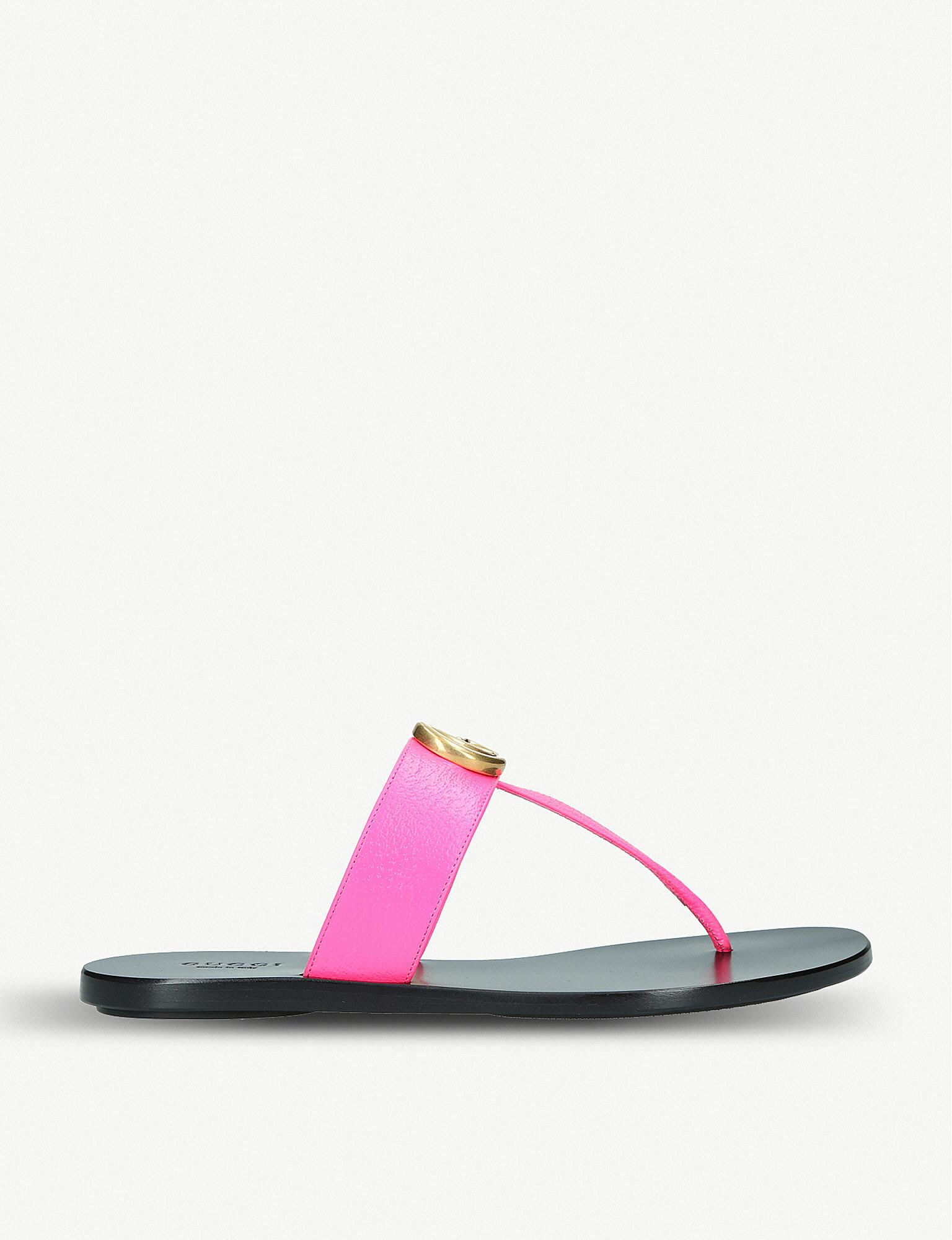 9cb591f8e6ed Lyst - Gucci Marmont Leather Sandals in Pink