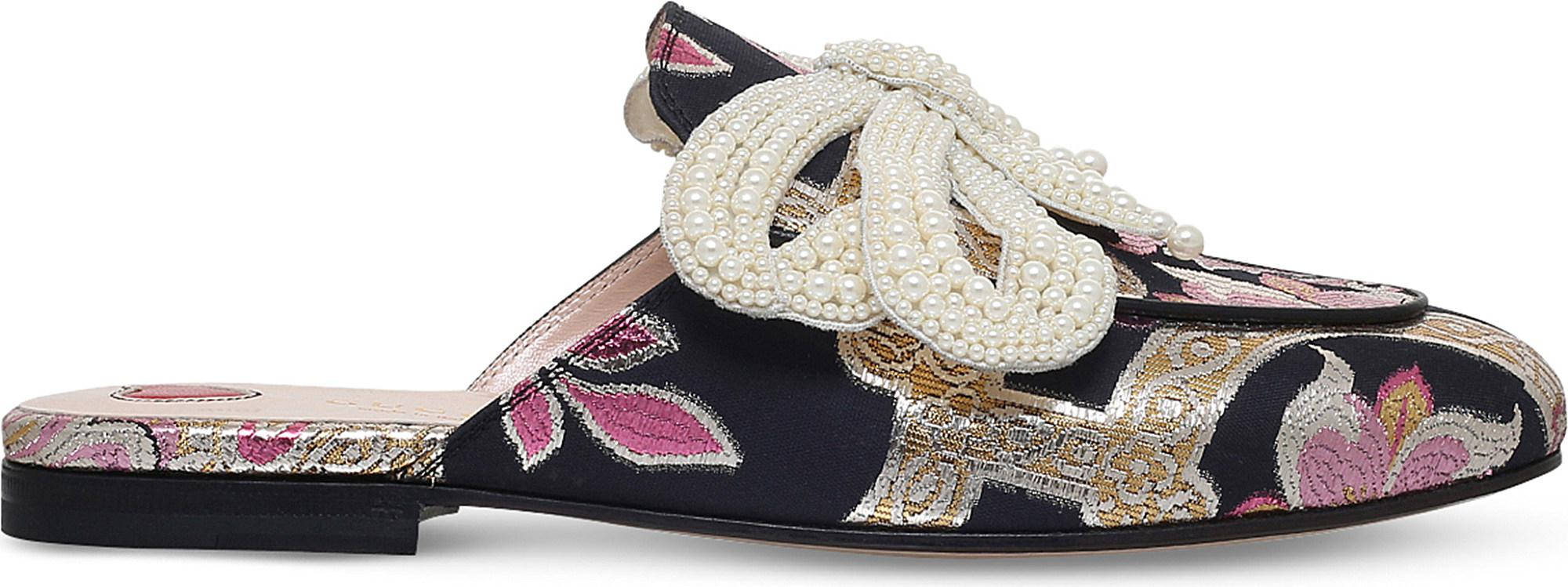 d3f8943f586 Gucci Princetown Chinoiserie Jaquard Slides - Lyst