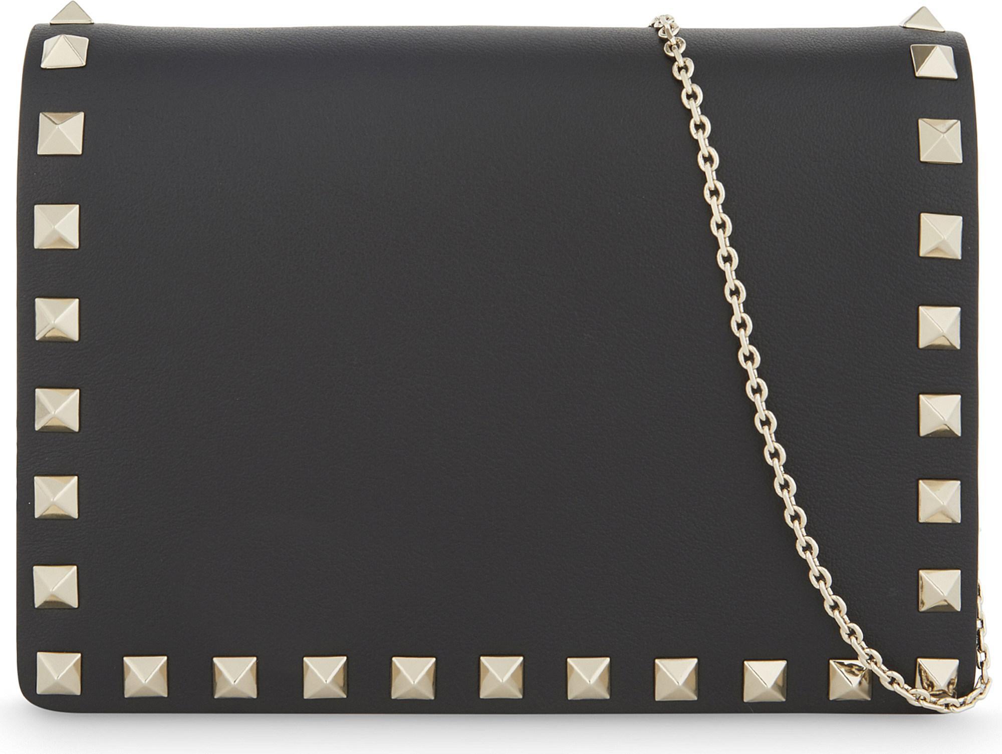19f505c25584c Lyst - Valentino Rockstud Small Leather Cross-body Bag in Black