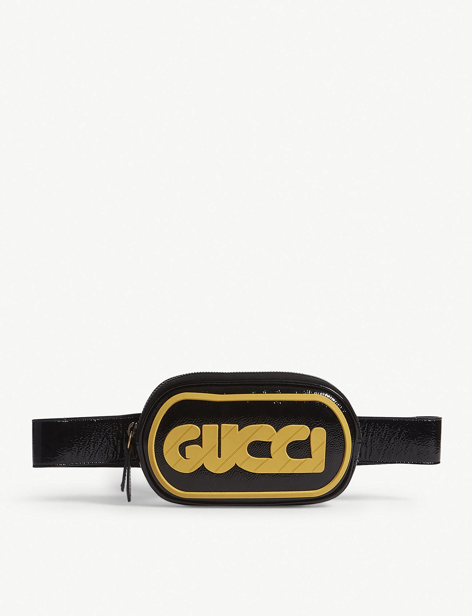 48c0889a383 Lyst - Gucci Striped Logo Patent Leather Belt Bag in Black