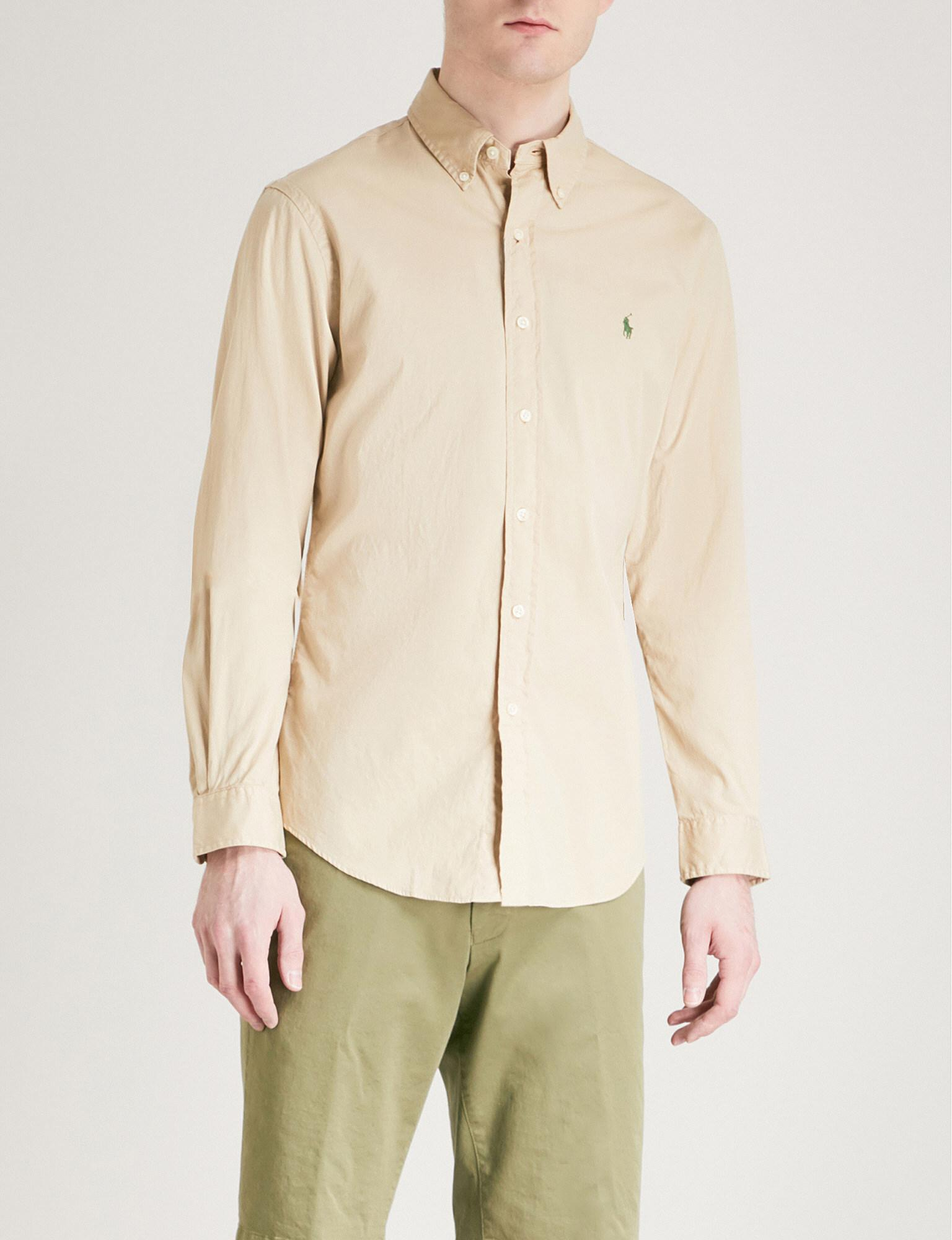 b9323930d8c Lyst - Polo Ralph Lauren Slim-fit Cotton-twill Shirt in Natural for Men