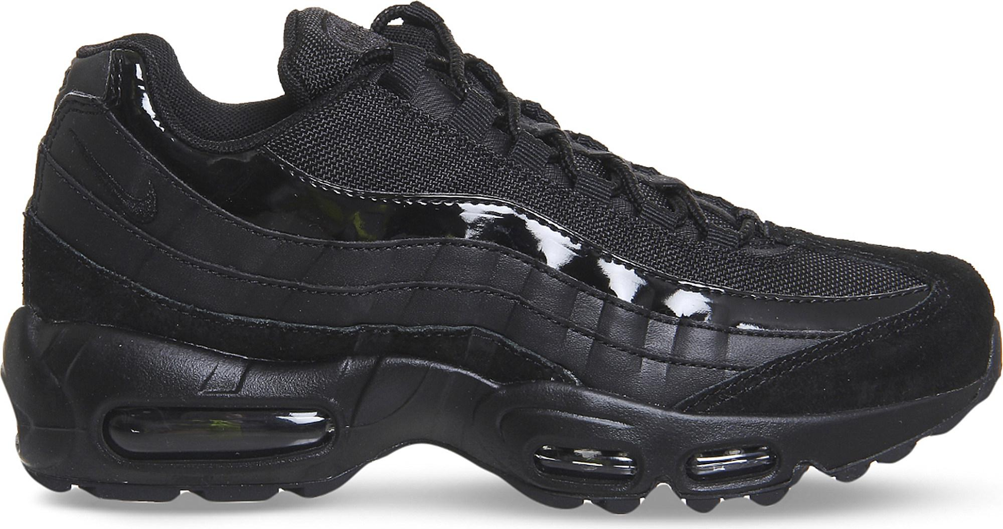1235dff14d Nike Air Max 95 Leather And Mesh Trainers in Black for Men - Lyst